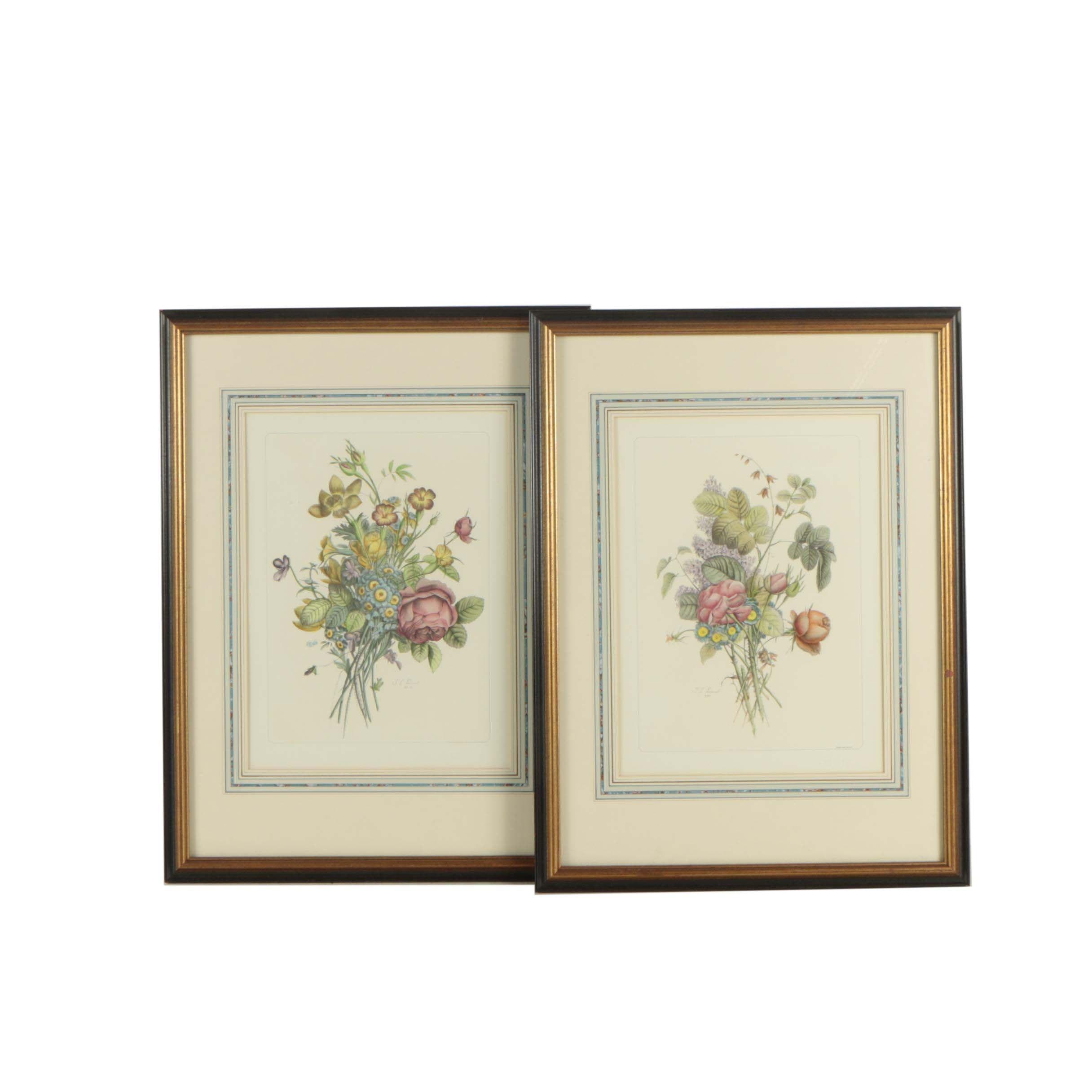 After J.L. Prevost Hand-Painted Halftone Prints