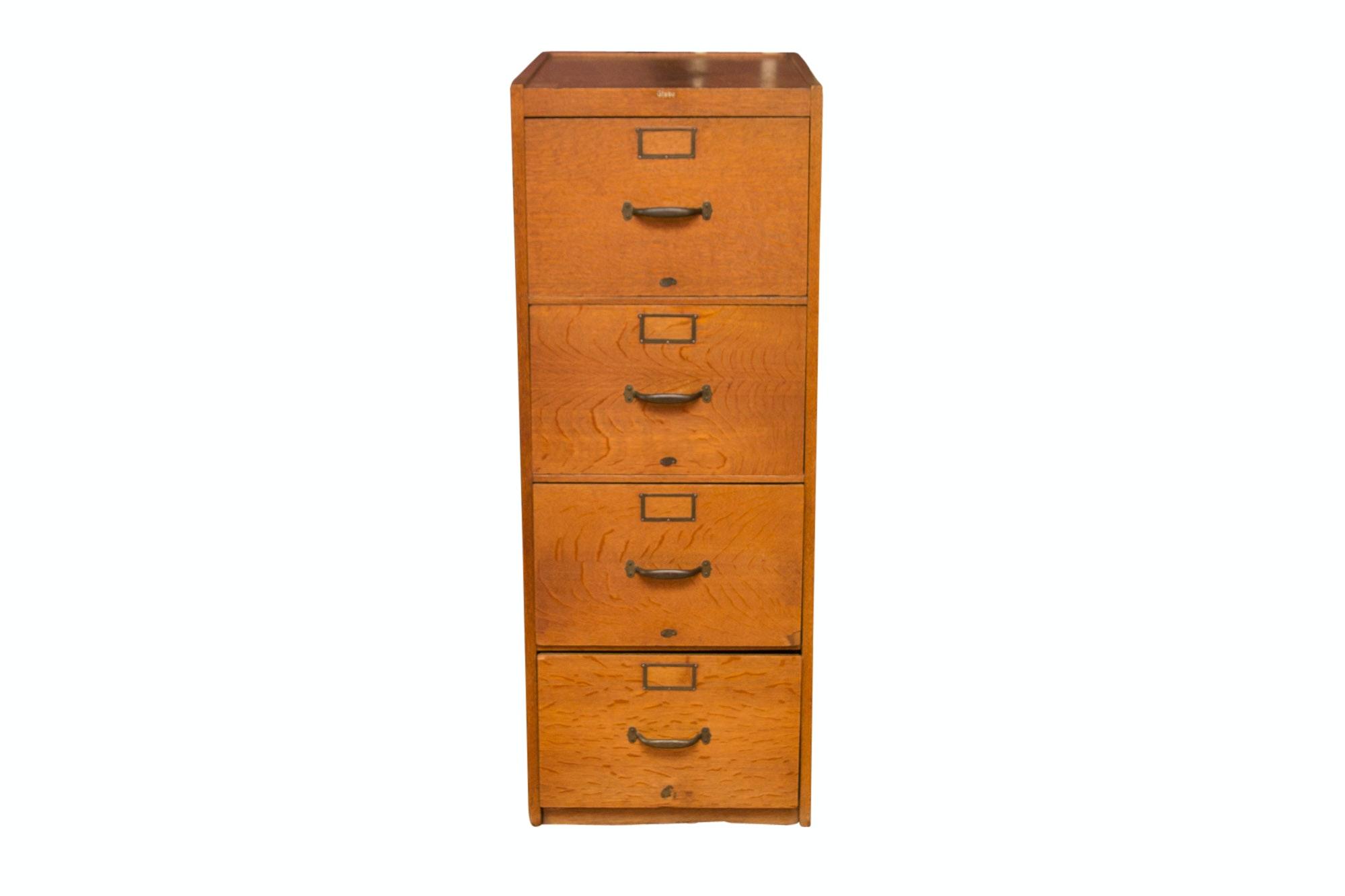 Globe Oak Filing Cabinet