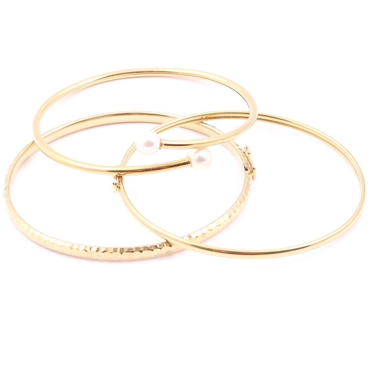 Three 14K Yellow Gold Bangle Bracelet Featuring Cultured Pearls