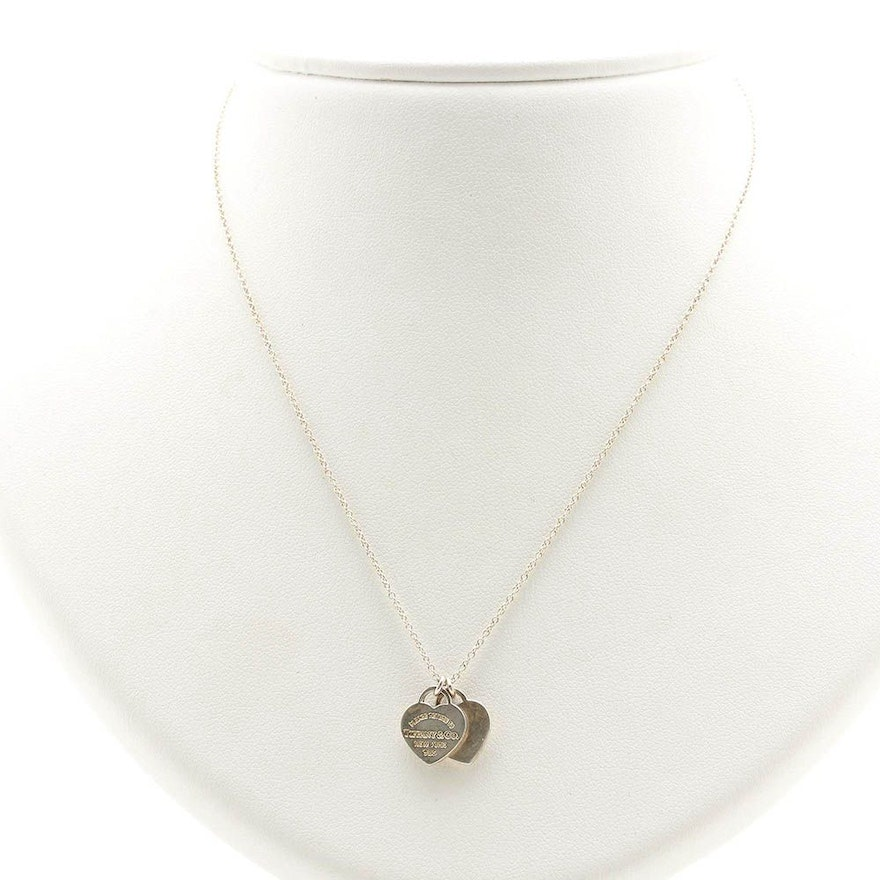 Tiffany Co Sterling Silver Return To Tiffany Double Heart Tag Necklace Ebth