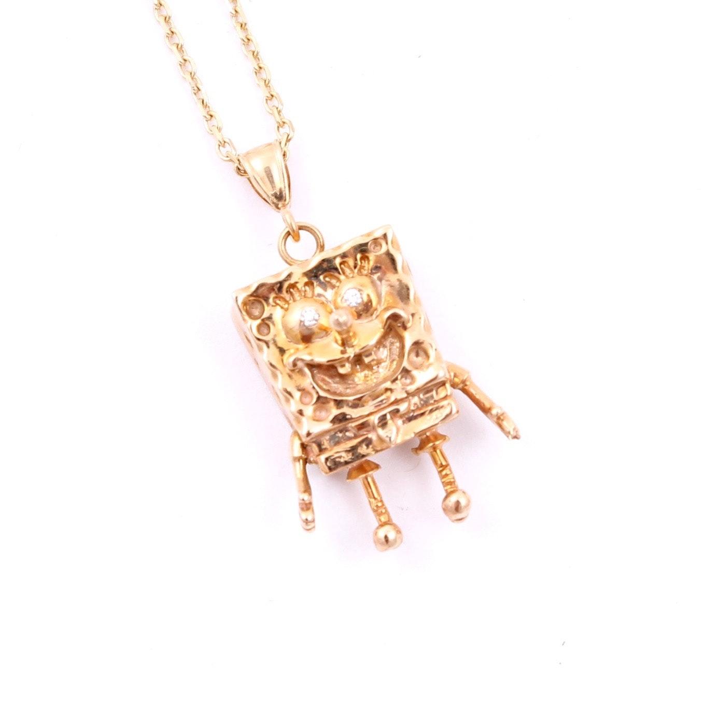14K Yellow Gold Diamond Spongebob Pendant Necklace