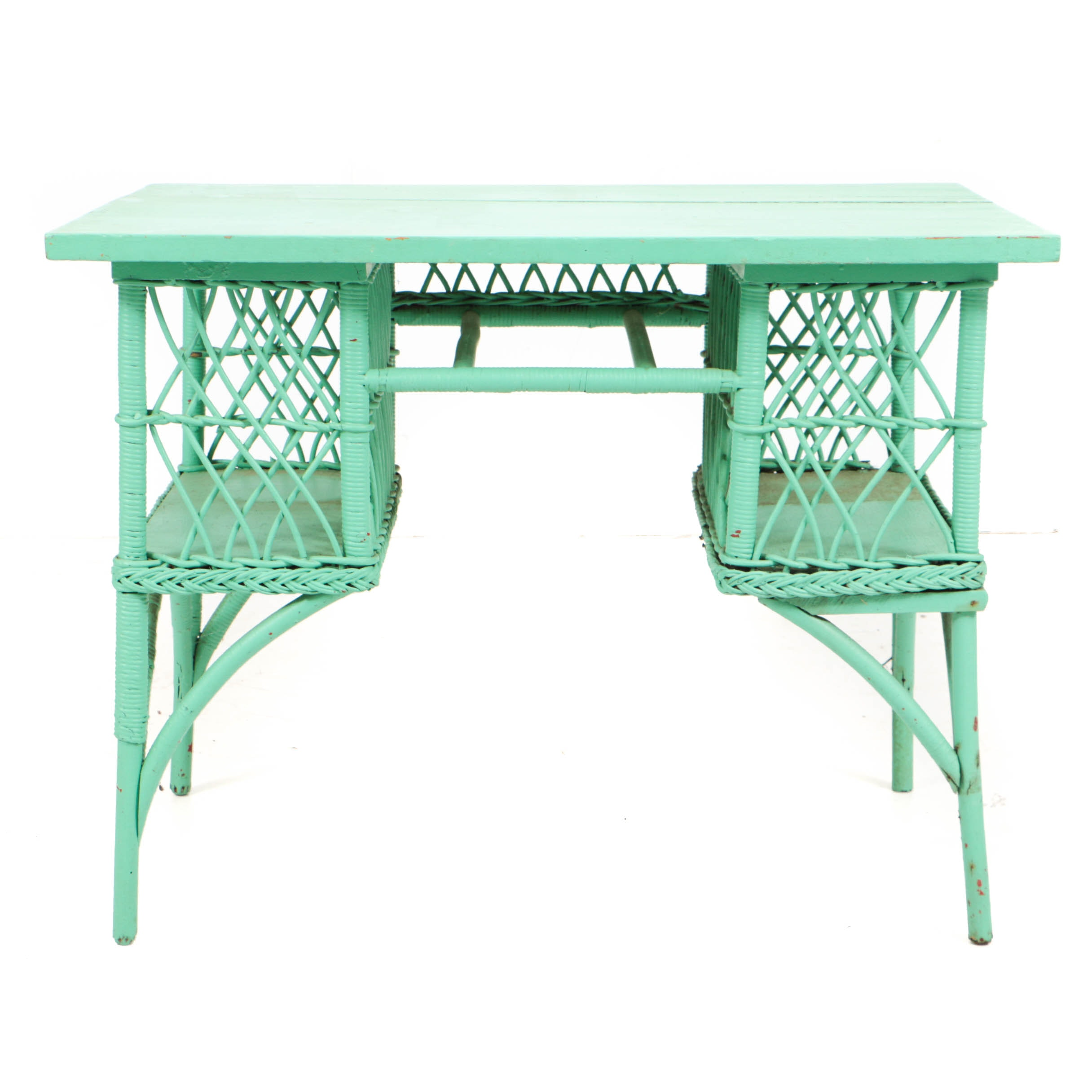 Antique Victorian Wicker and Oak Writing Table in Later, Green Paint