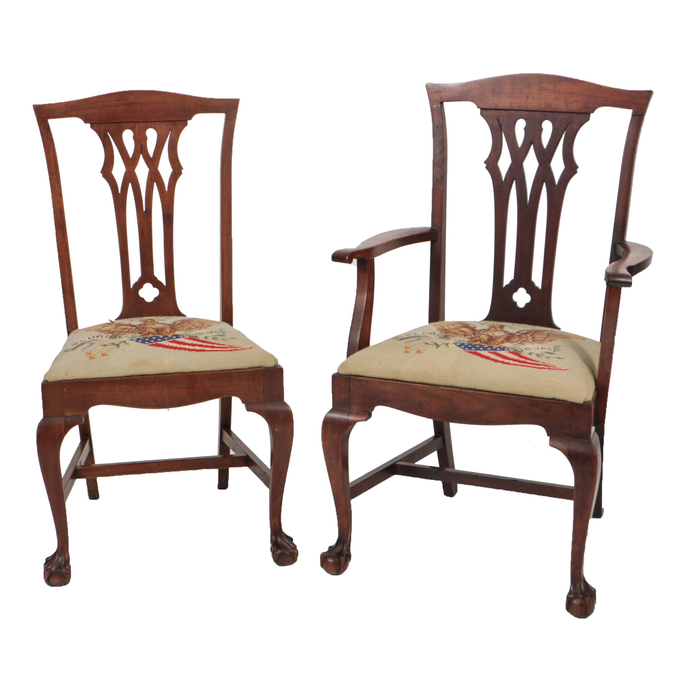 Antique Chippendale Style Mahogany Open Armchair and Side Chair