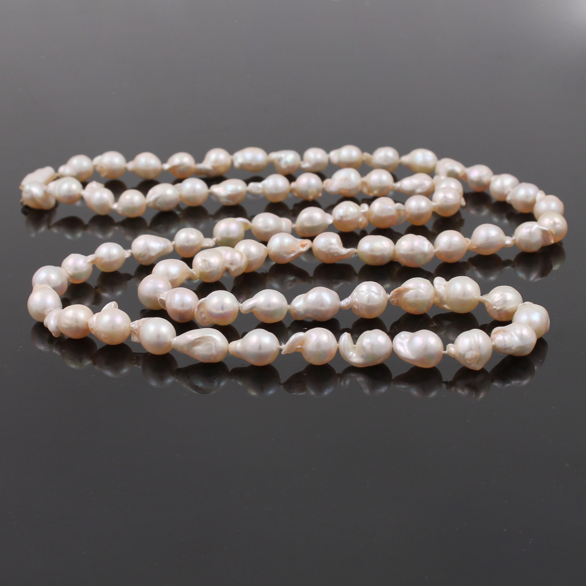 14K Yellow Gold Clasped Cultured Baroque Pearl Necklace Strand