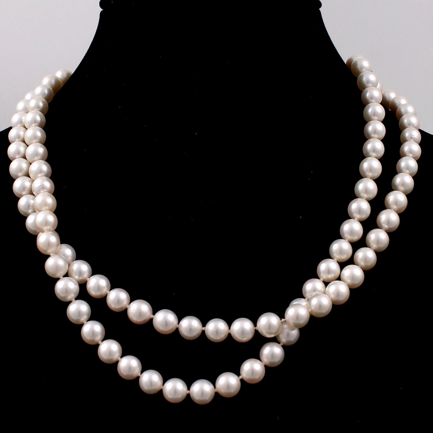 14K Yellow Gold Clasped Cultured Pearl Necklace Strand