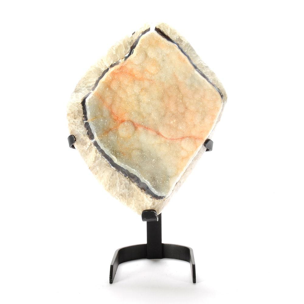 Irregular Geode Specimen with Metal Display Stand