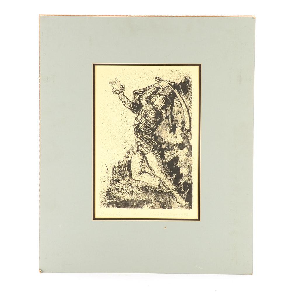 """David Walker Vintage Artist Proof Lithograph """"Harlequin"""""""