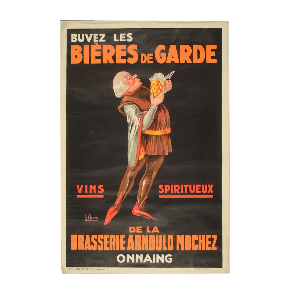 Lelercq Vintage French Advertising Poster for Arnould Mochez Brewery