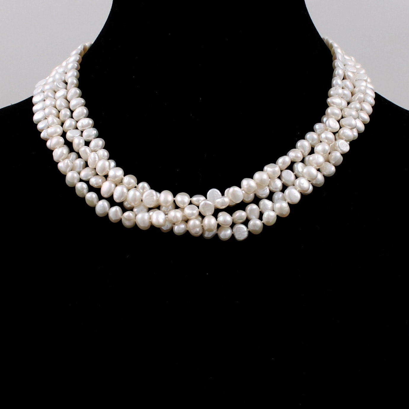 14K Yellow Gold Clasp Cultured Pearl Four Strand Necklace