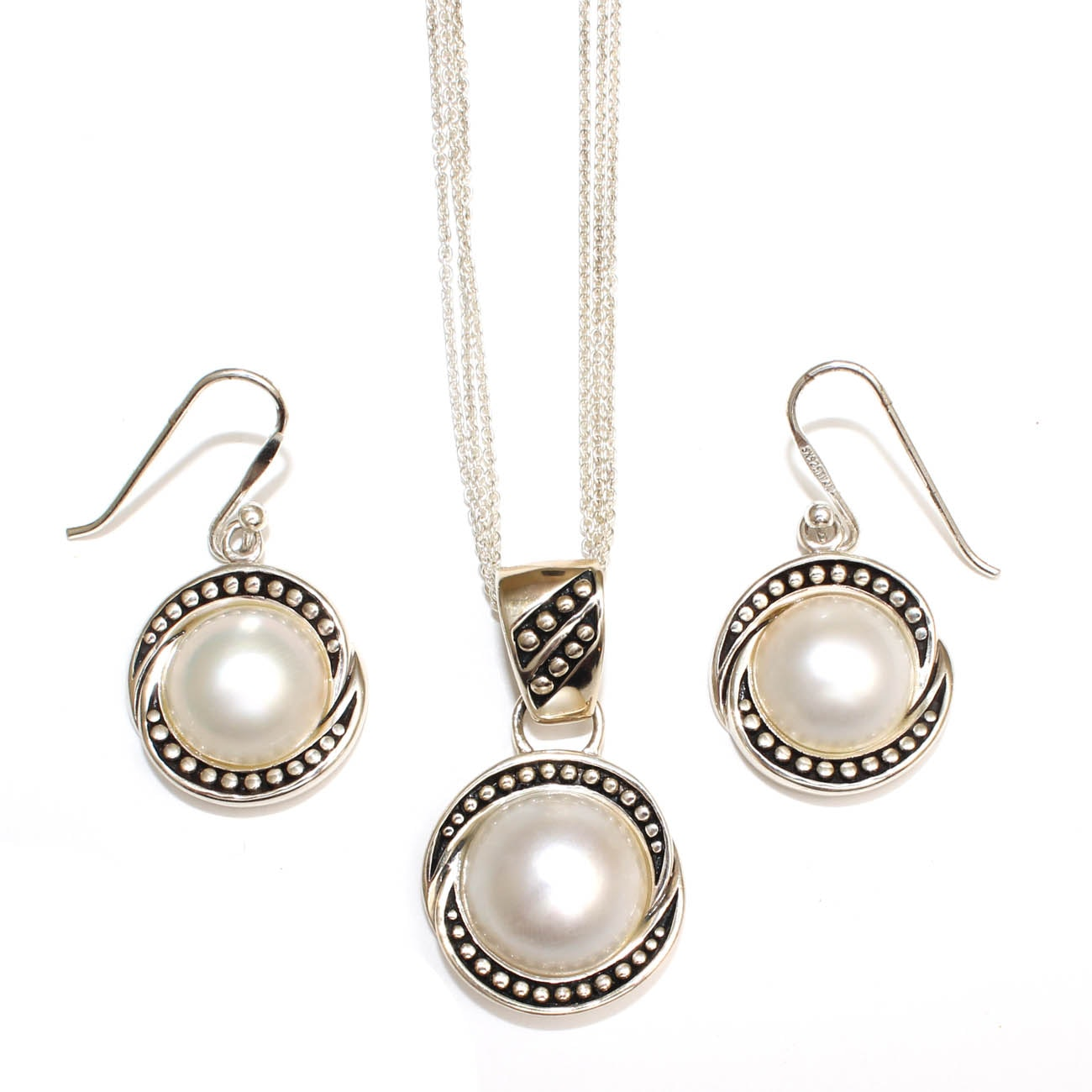 Sterling Silver and Cultured Pearl Demi Parure