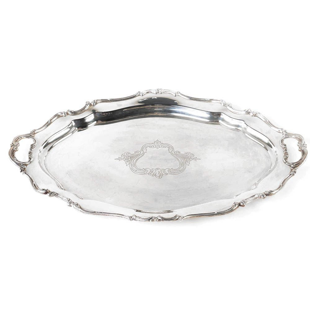 "Reed & Barton ""Hampton Court Shield"" Sterling Silver Large Waiter Tray"