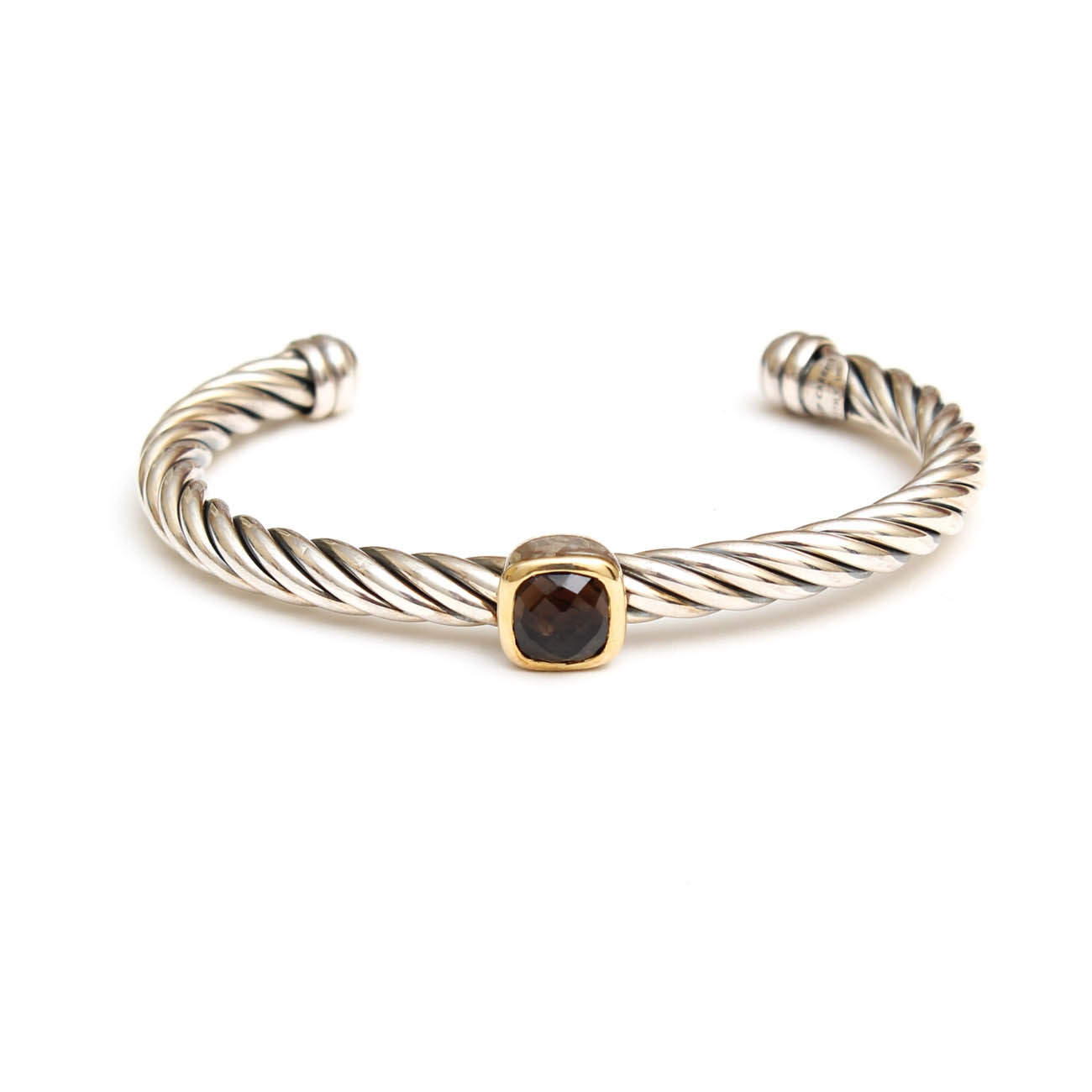Phillip Gabriel Sterling Silver and 18K Yellow Gold Cuff with Smoky Quartz