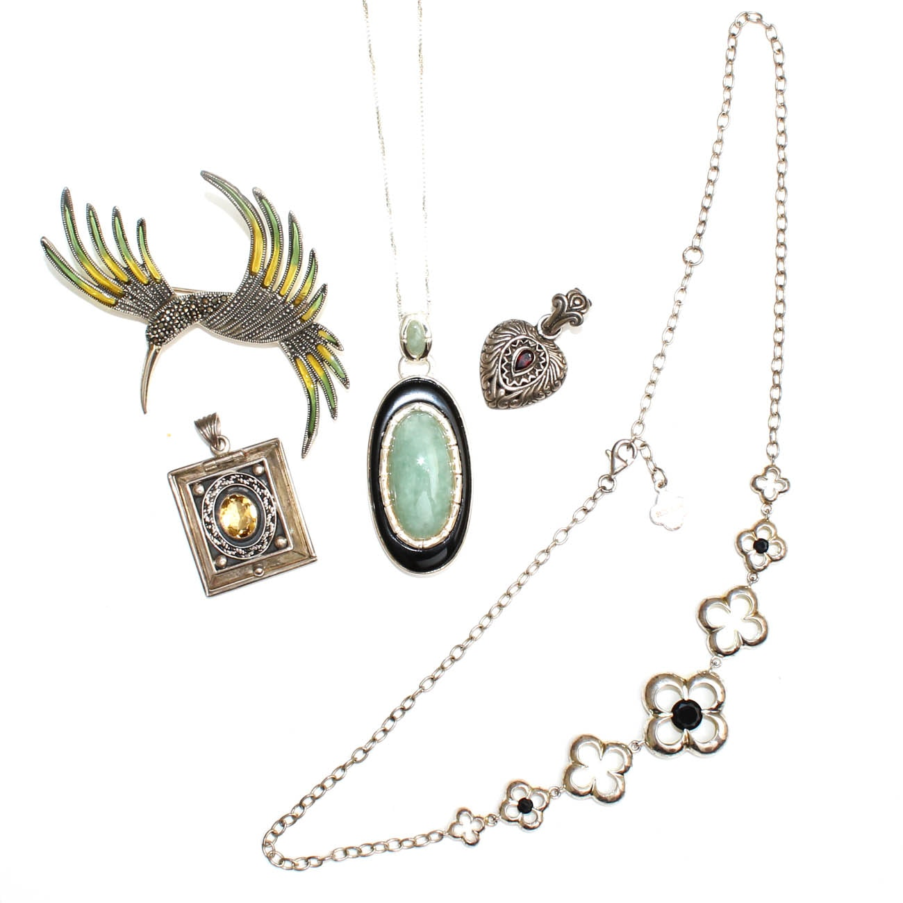 Sterling Silver Necklace and Pendant Selection with Gemstones