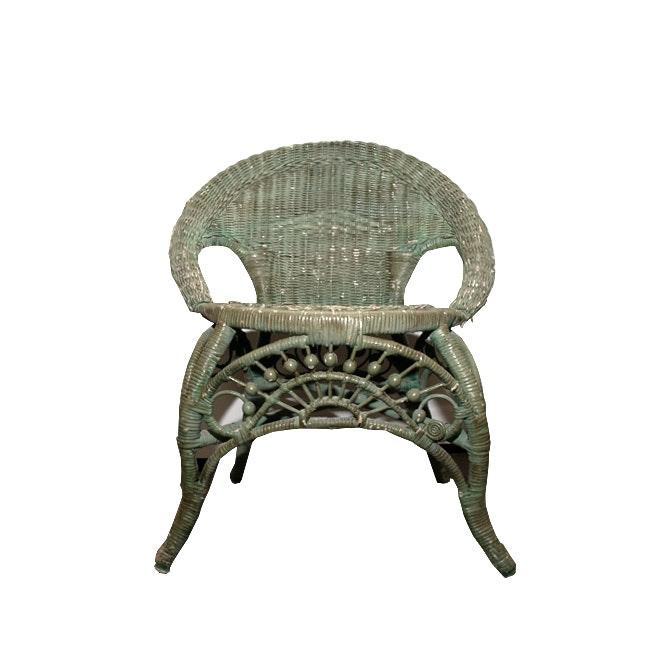 Vintage Painted Wicker Chair