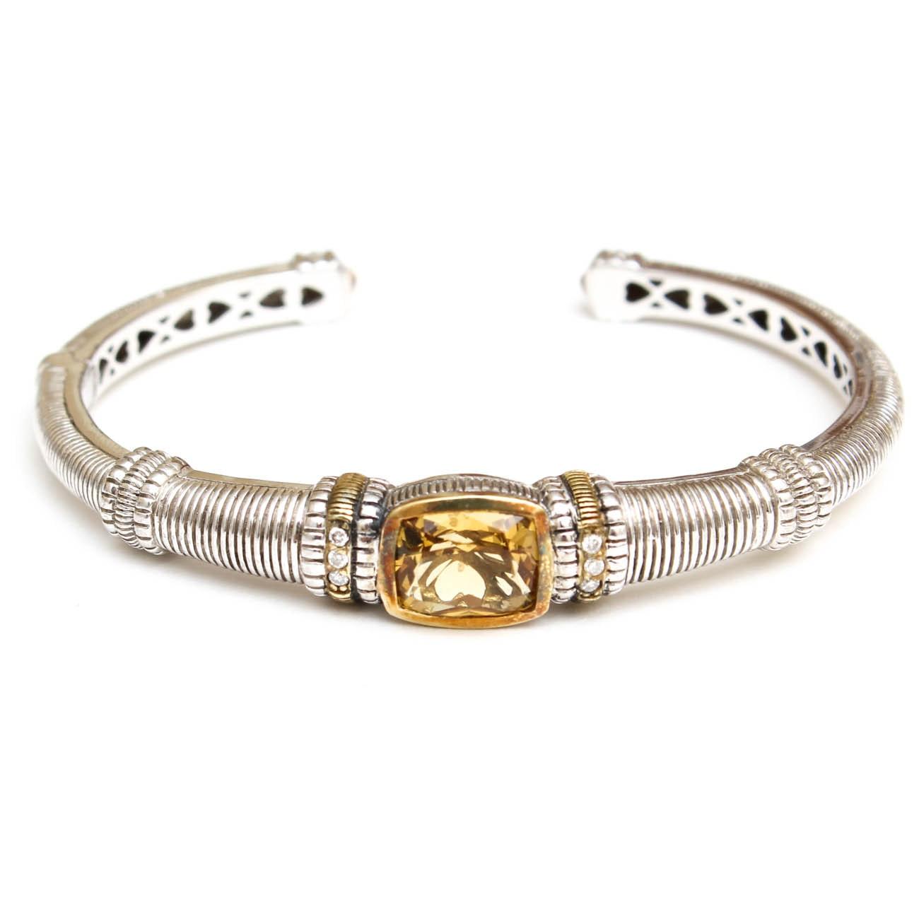 Judith Ripka 18K Gold and Sterling Citrine and Diamond Cuff Bracelet