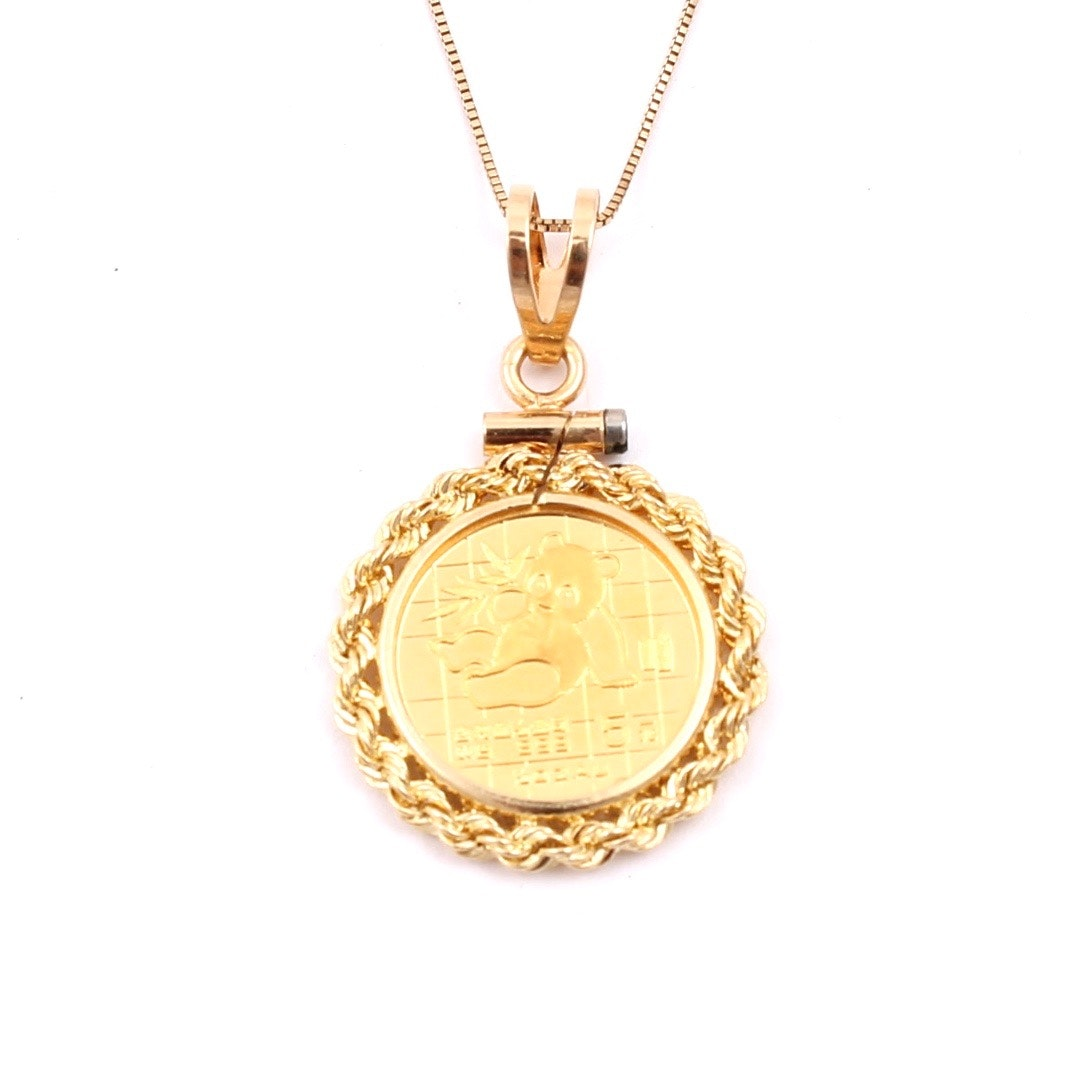 1989 .999 Gold 5 Yuan Panda Coin with 14K Yellow Gold Bezel and Chain