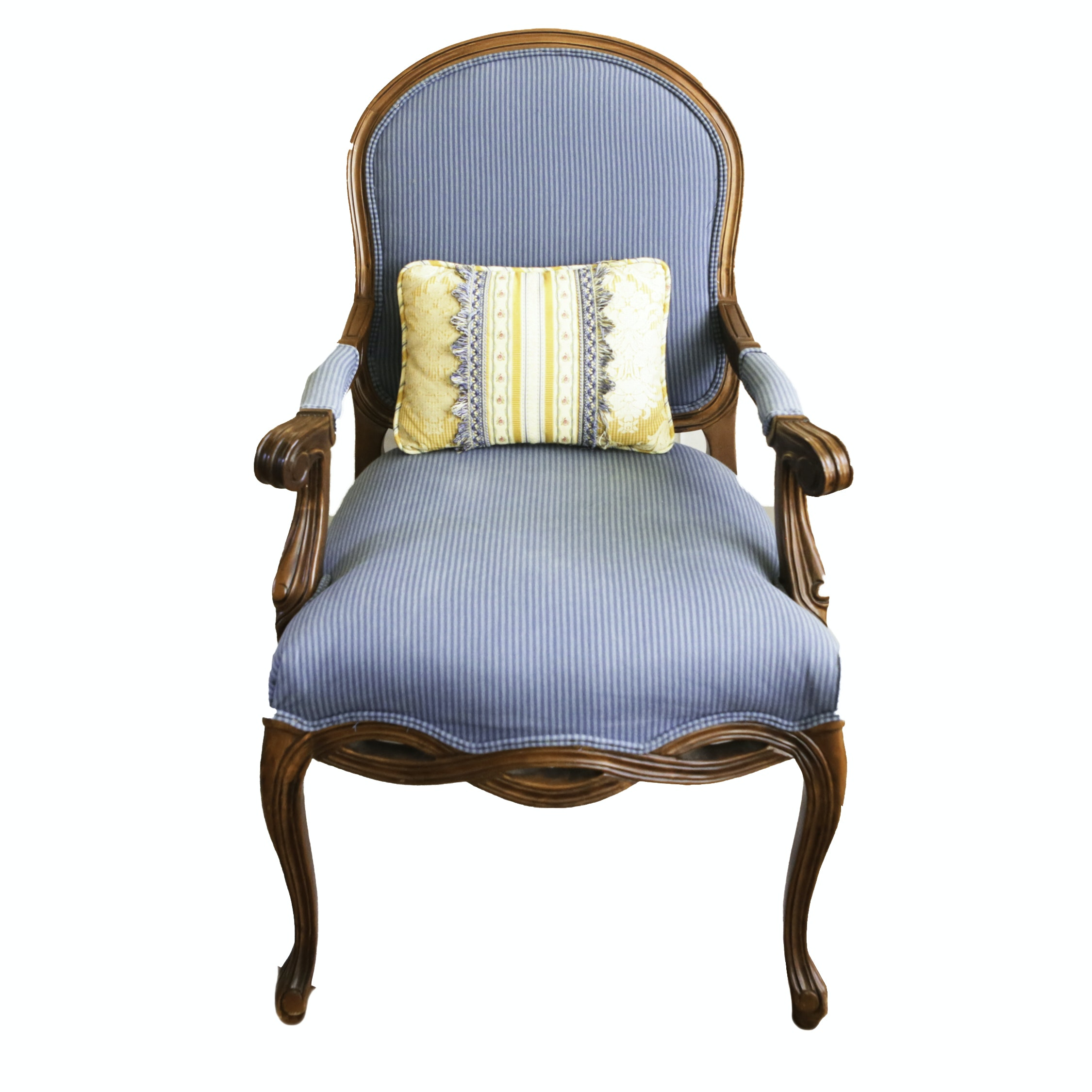 Wooden Fauteuil Armchair with Blue Upholstery and Pillow