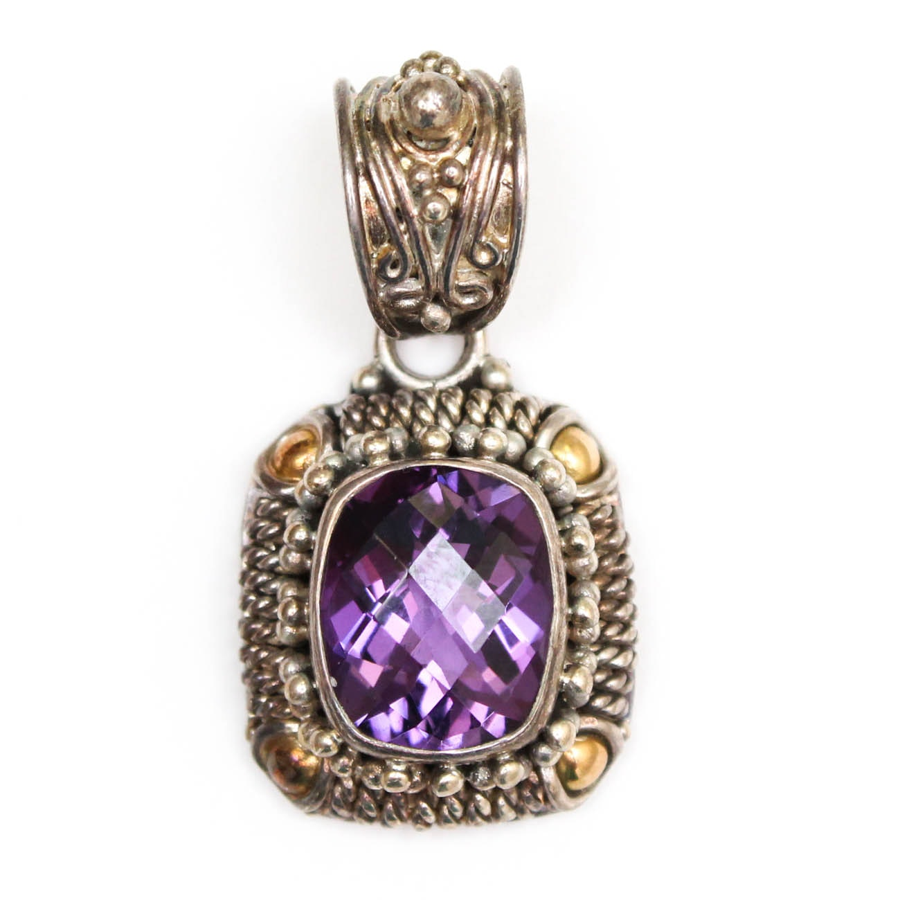 Suarti of Bali Sterling Silver and 18K Yellow Gold Amethyst Pendant
