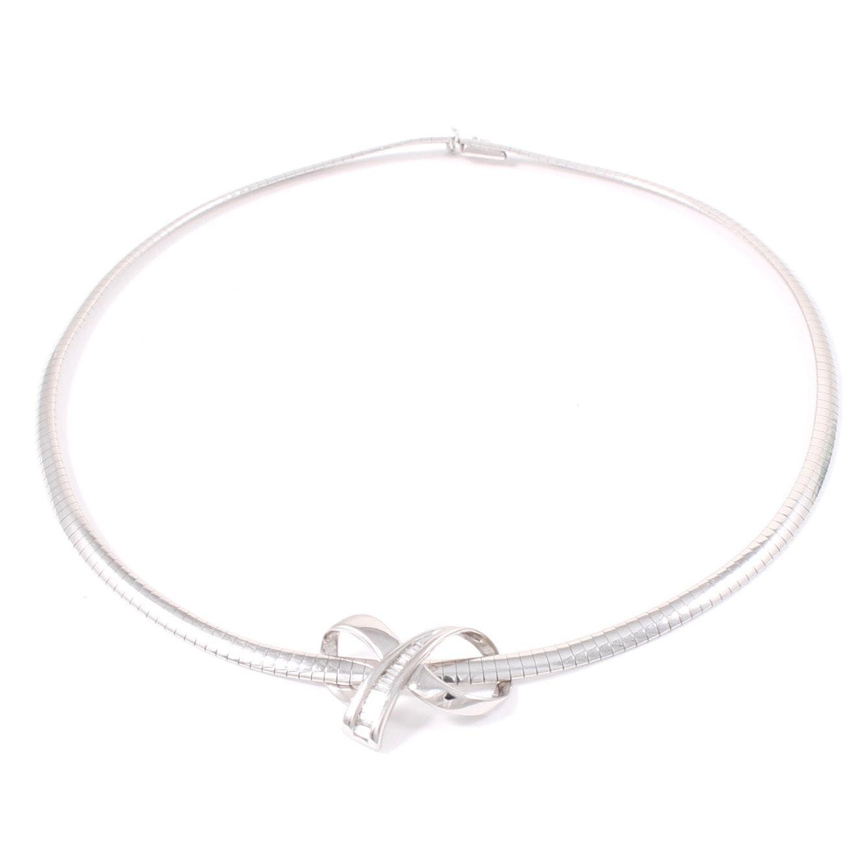 14K White Gold Diamond Slide Pendant Necklace