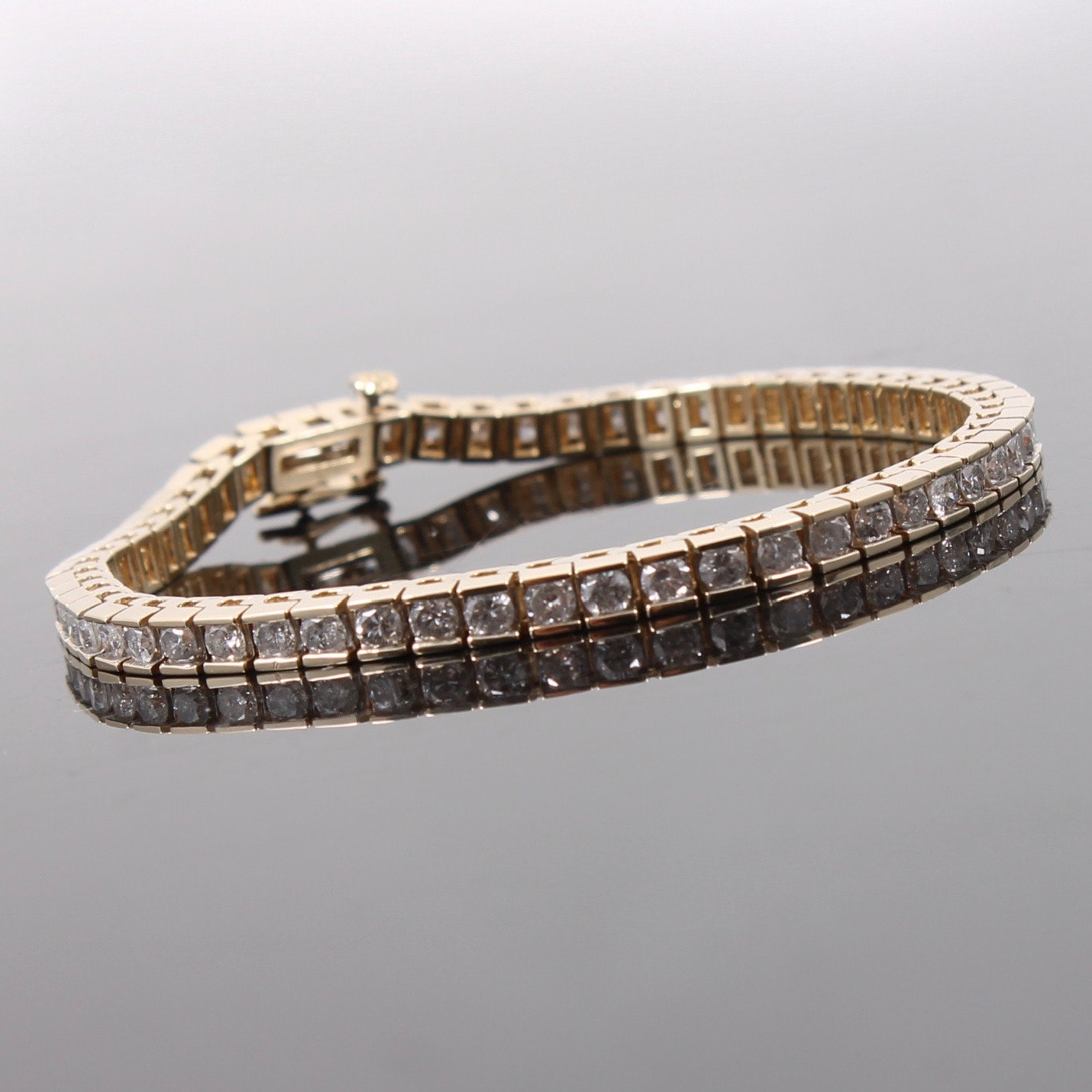 14K Yellow Gold 5.00 CTW Diamond Tennis Bracelet