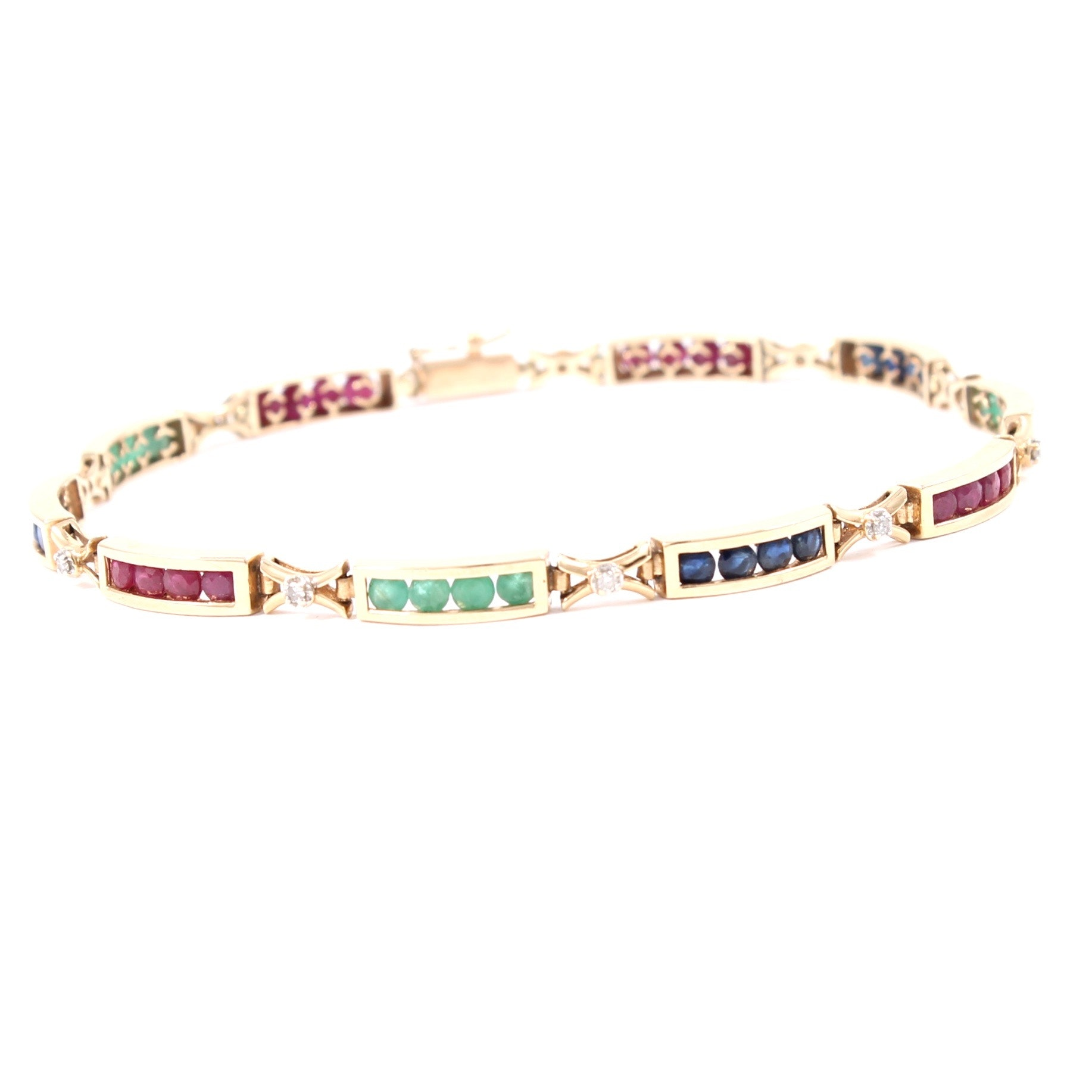 14K Yellow Gold Diamond, Ruby, Emerald, and Sapphire Bracelet