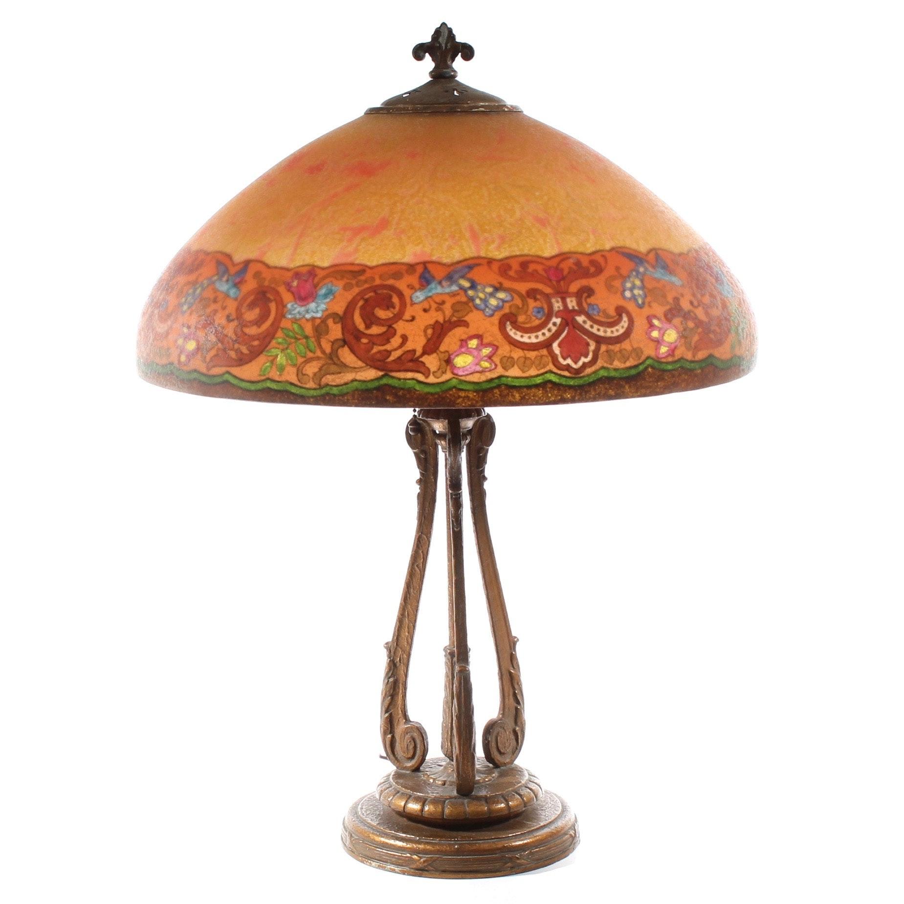 Antique Art Nouveau Handel Signed Reverse Painted Glass Table Lamp