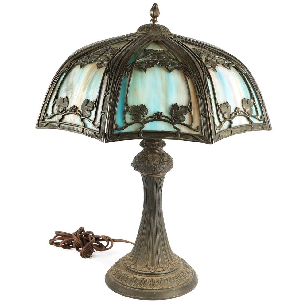 Antique Miller Slag Glass Lamp (Attributed)