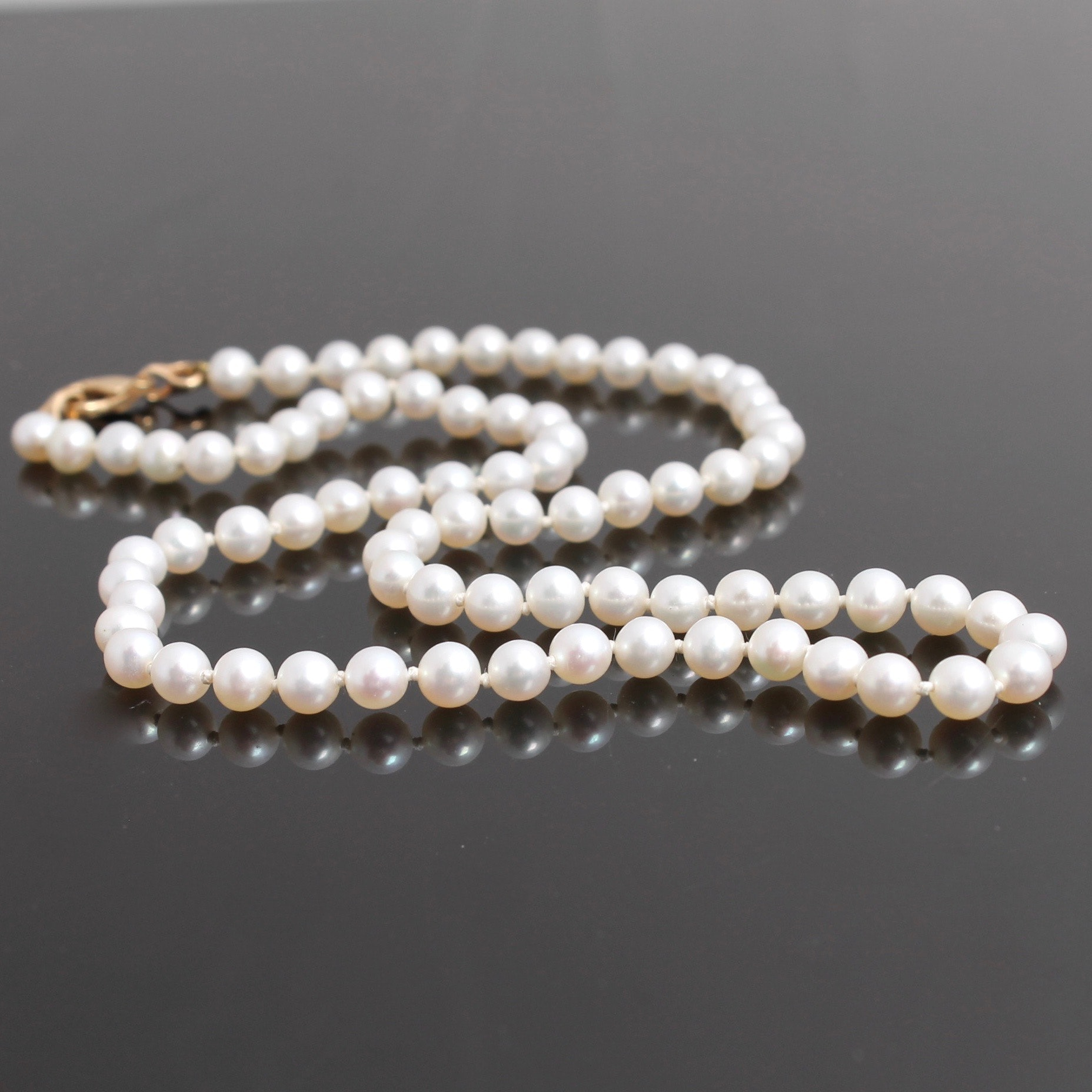 14K Yellow Gold Clasped Cultured Pearl Necklace