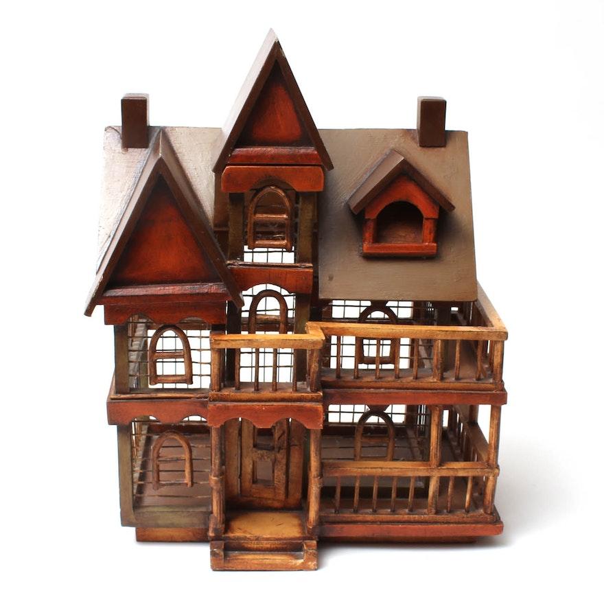 Vintage Wooden Dollhouse Birdcage