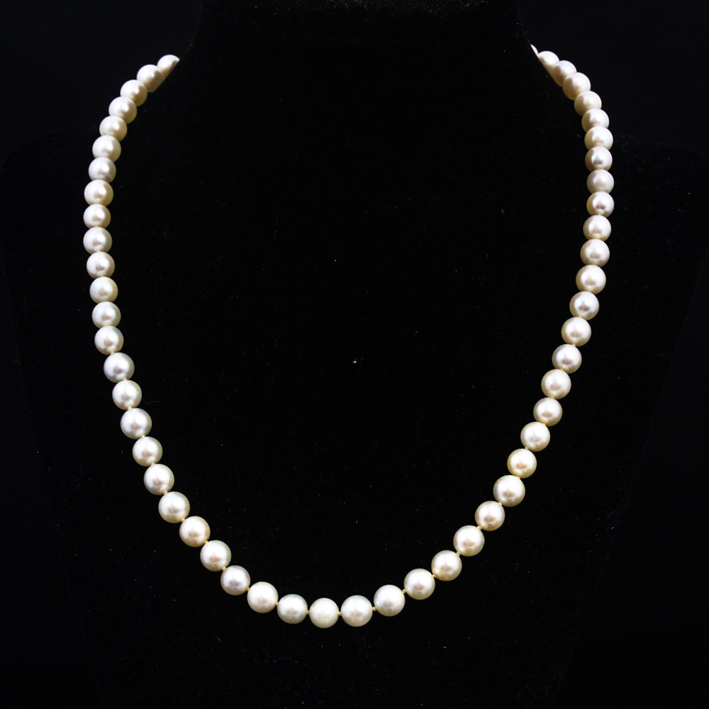 Vintage 14K White Gold and Cultured Pearl Necklace