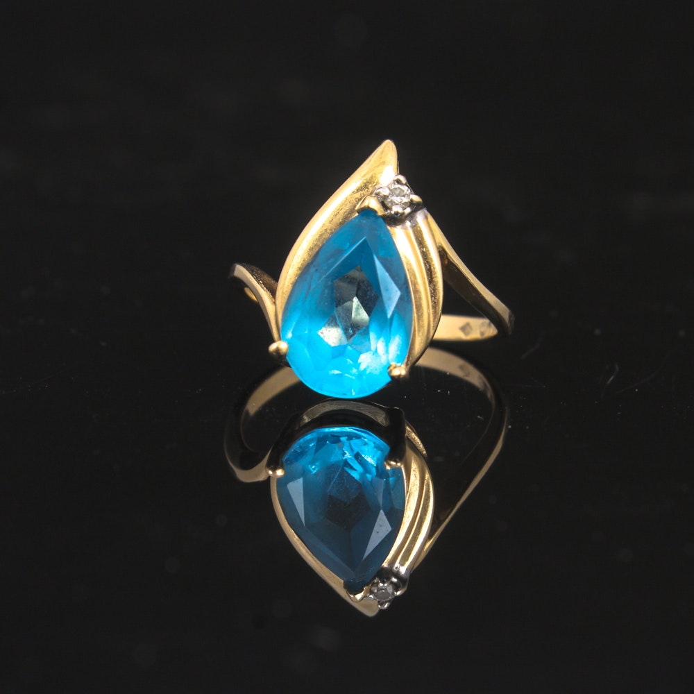 14K Yellow Gold, Diamond, and Blue Topaz Ring