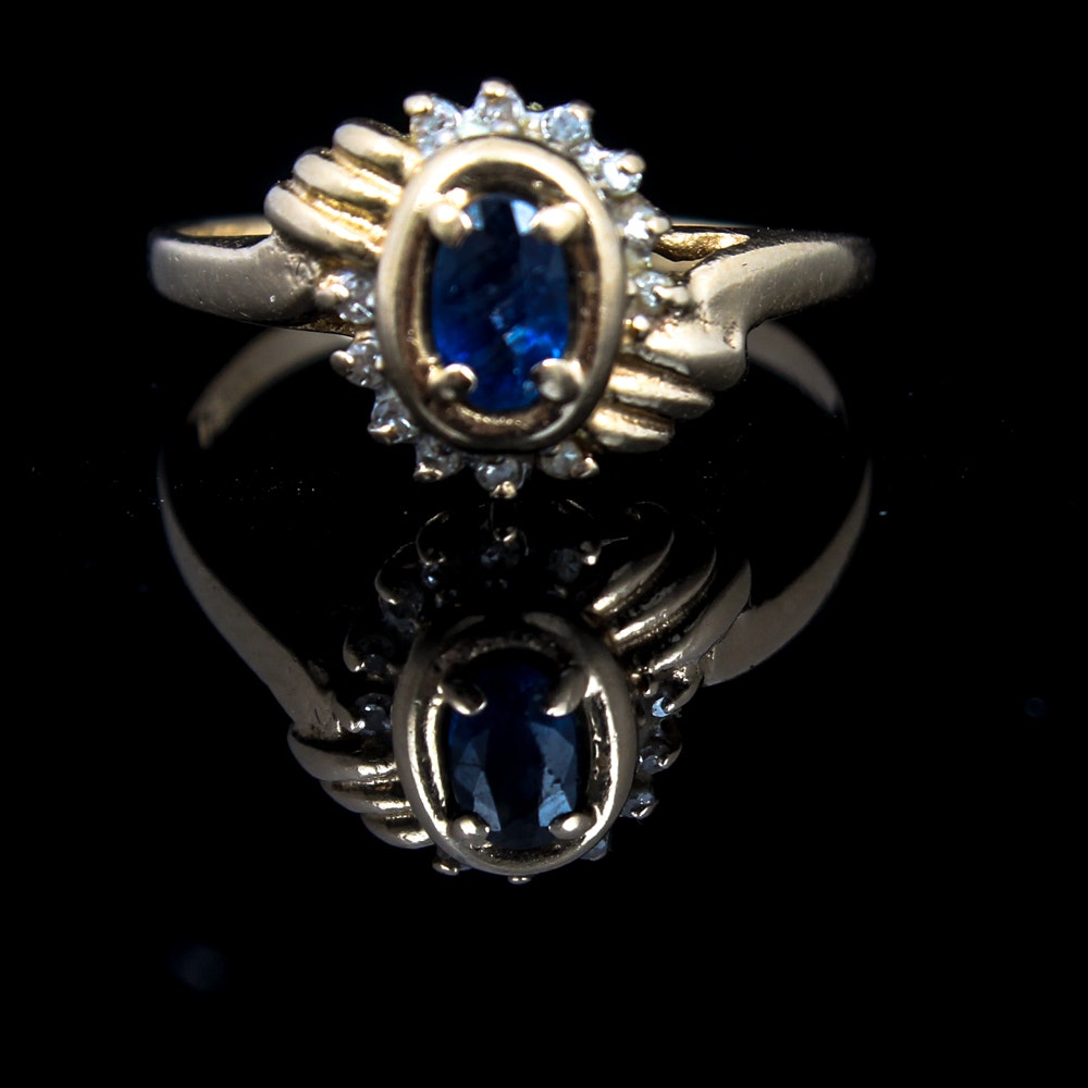 14K Yellow Gold, Sapphire, and Diamond Ring