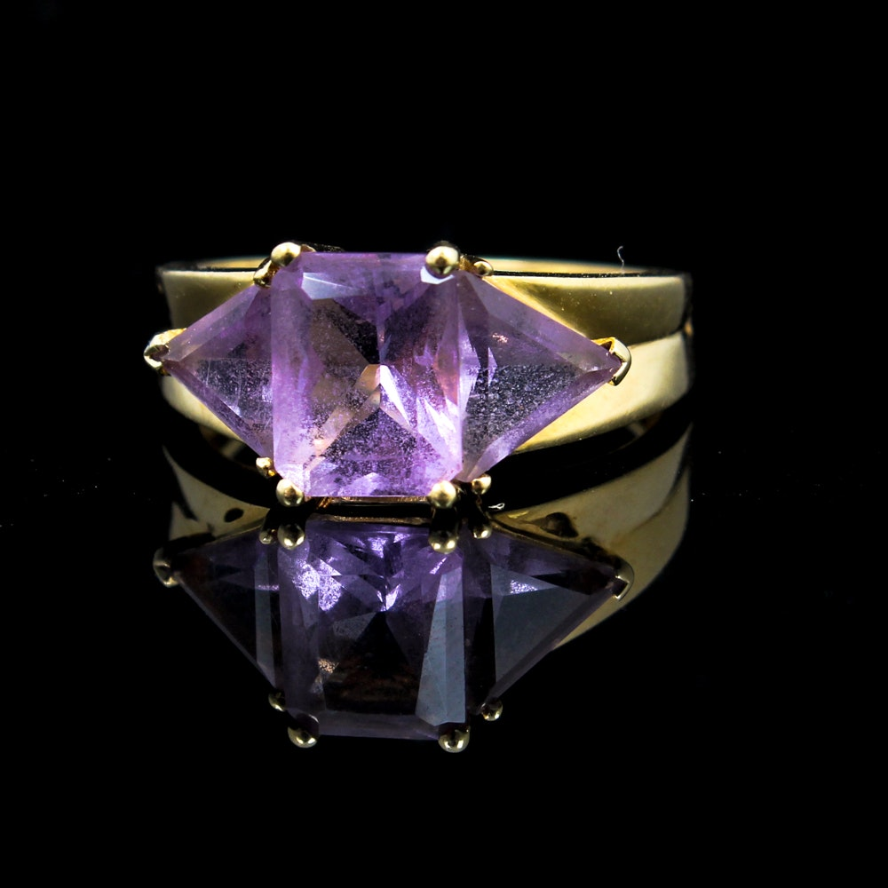 14K Yellow Gold and Amethyst Ring