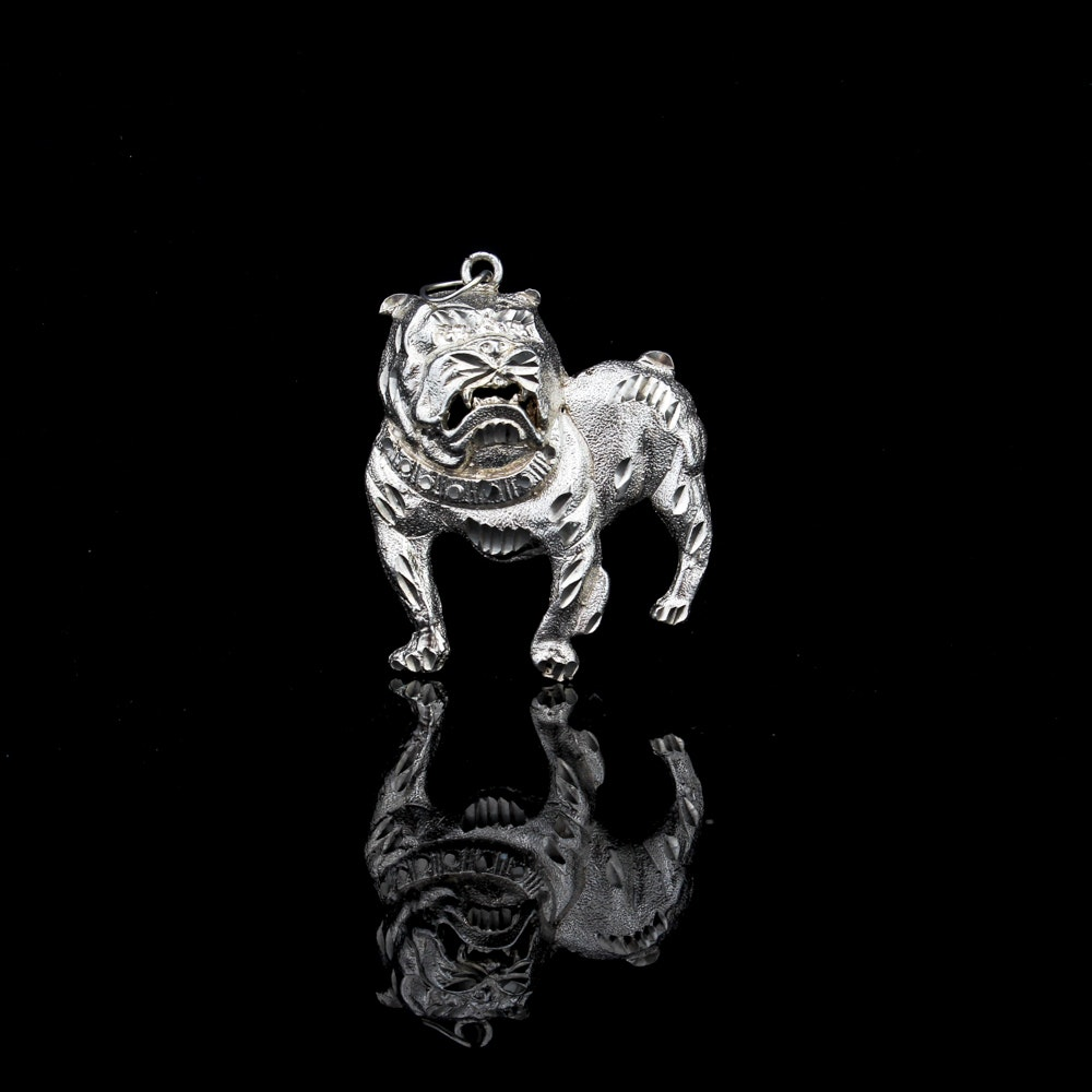 Sterling Silver English Bulldog Pendant