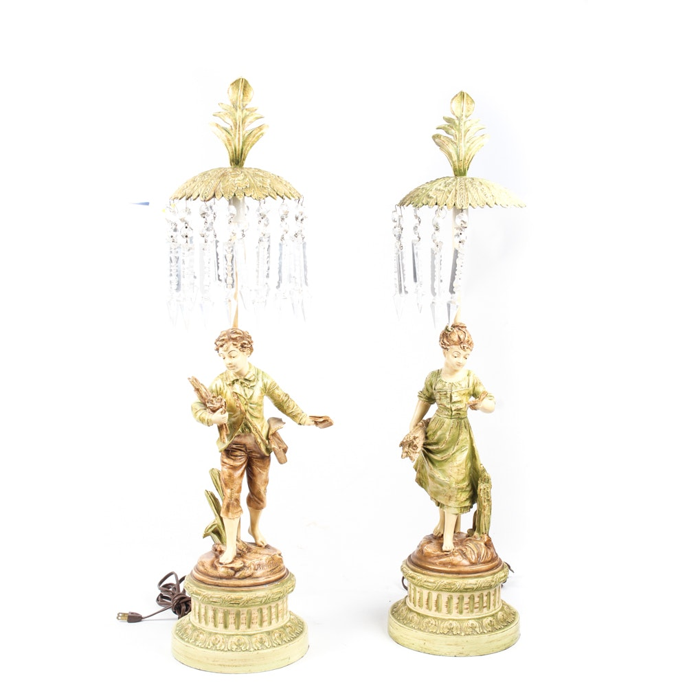 Painted Metal Figural Table Lamps with Crystal Pendants
