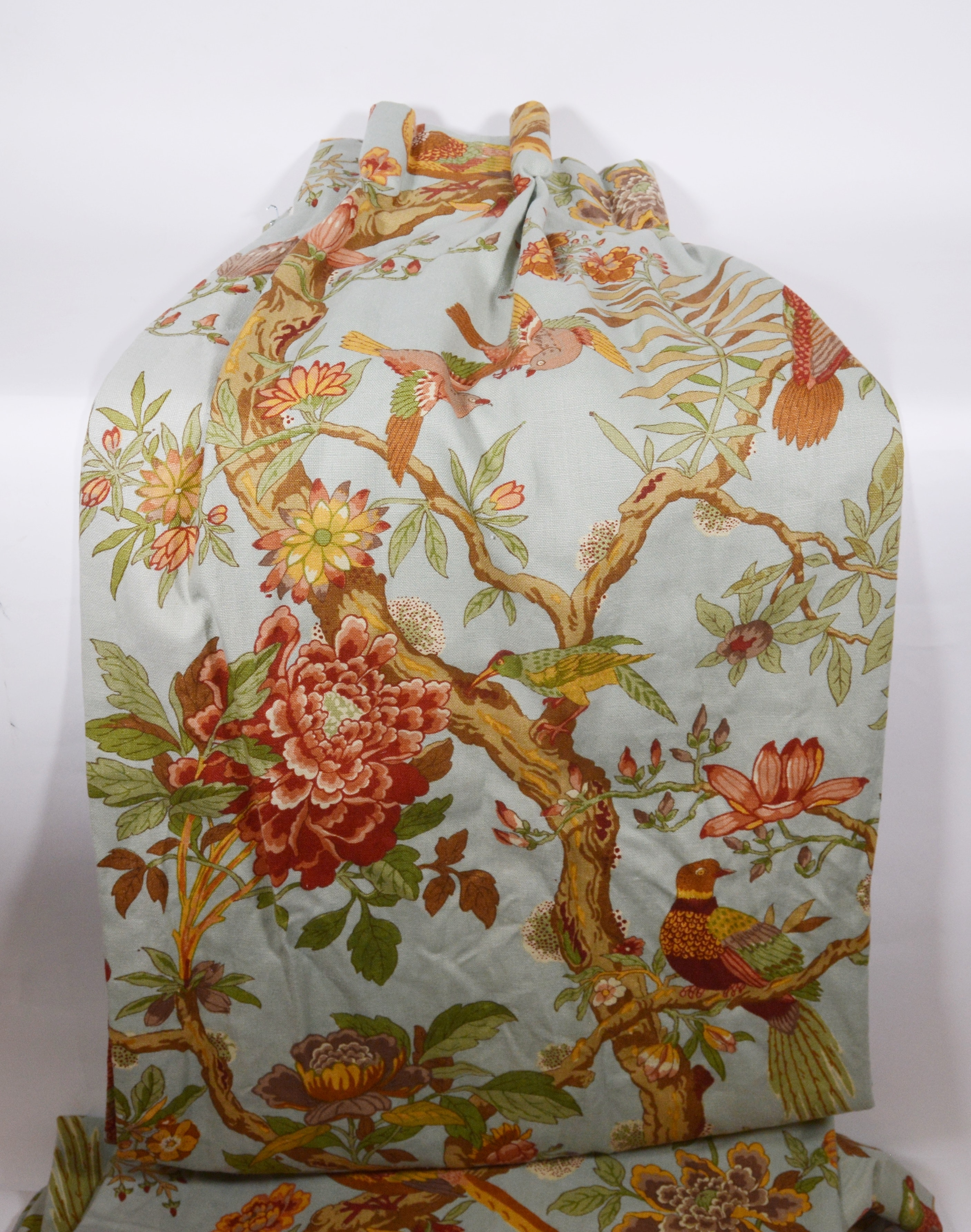 Floral and Bird Patterned Lined Drapery Panels
