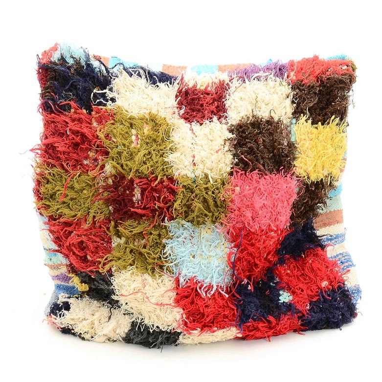 Handwoven Moroccan Berber and Boucherouite Rug Pouf Cover