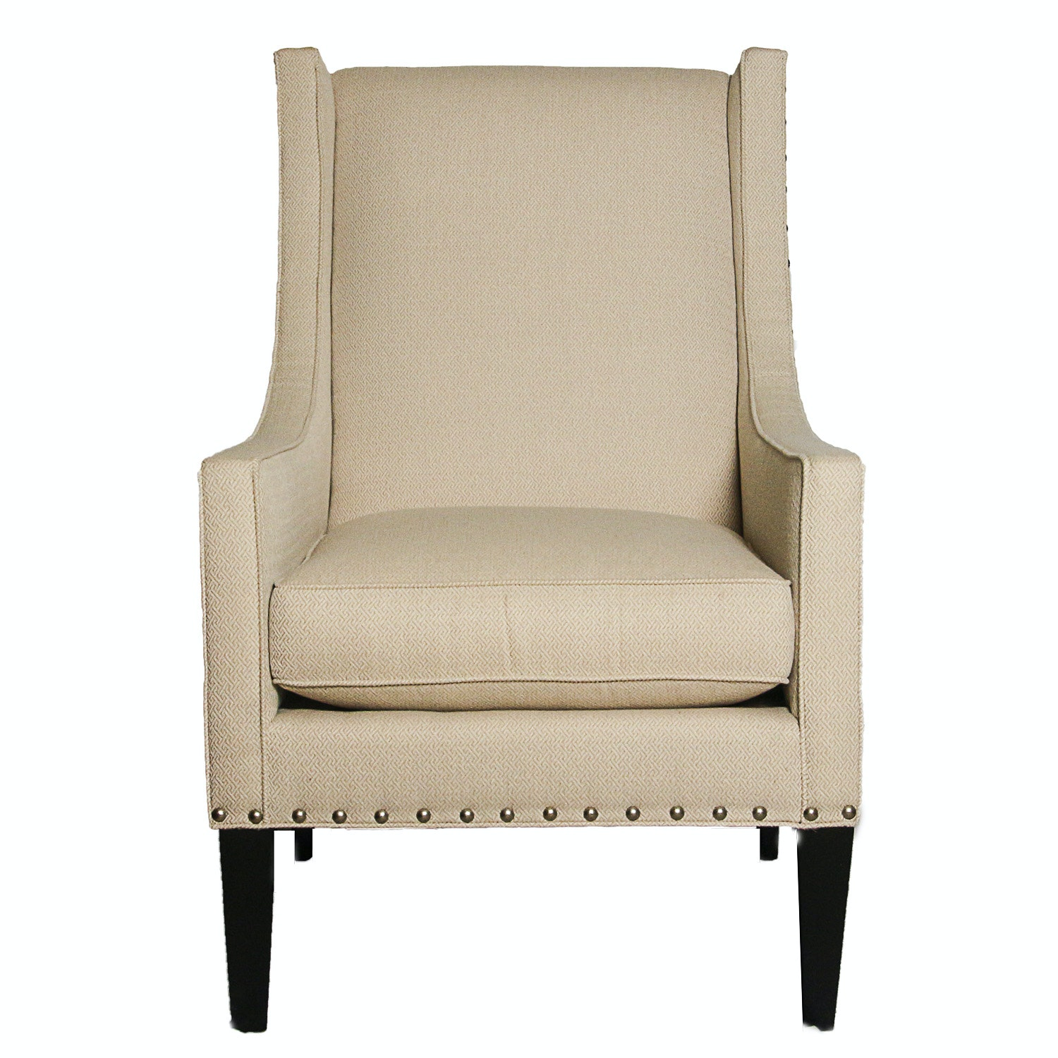 Contemporary Upholstered Wingback Armchair