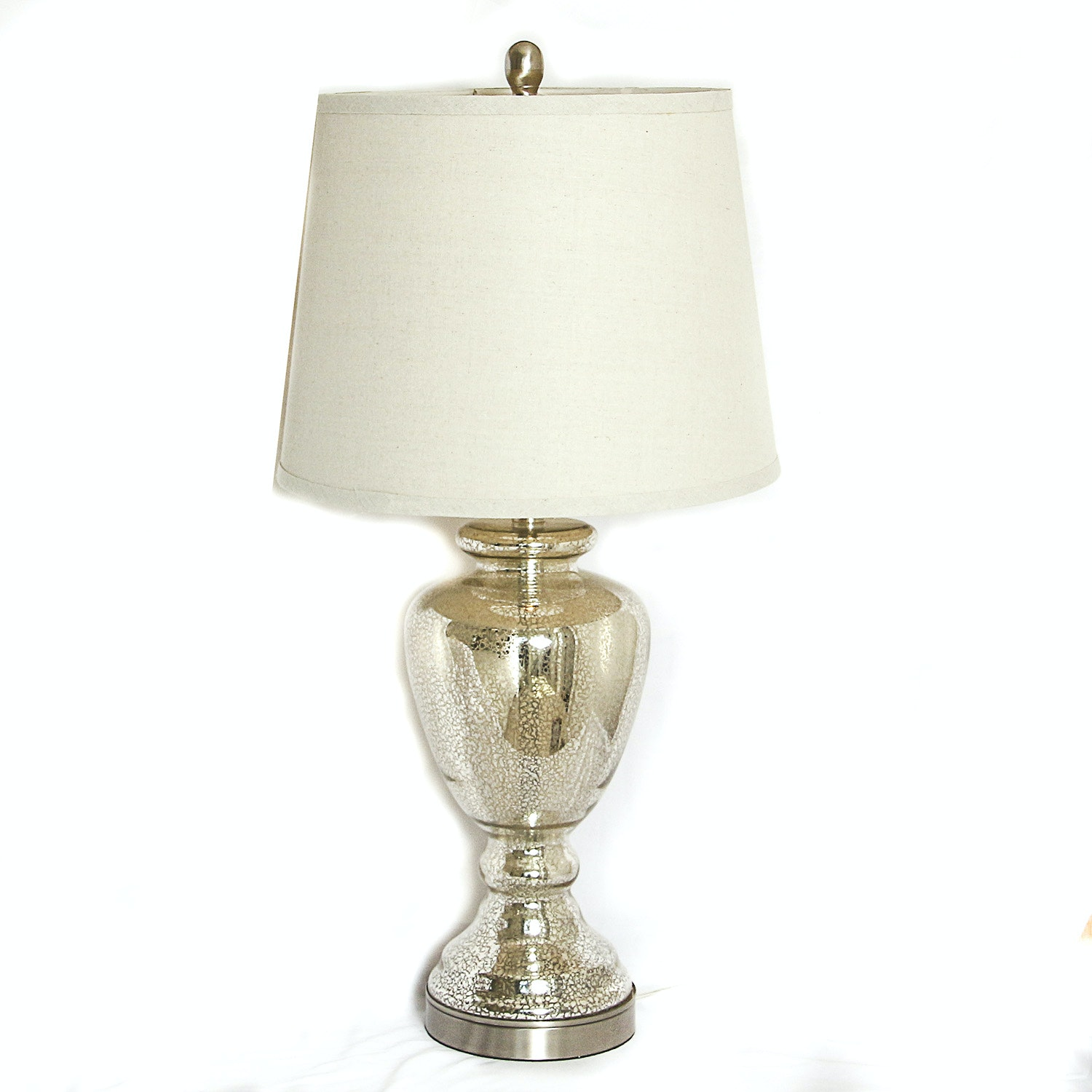 Glass Urn Style Table Lamp with Gold Tone Accents