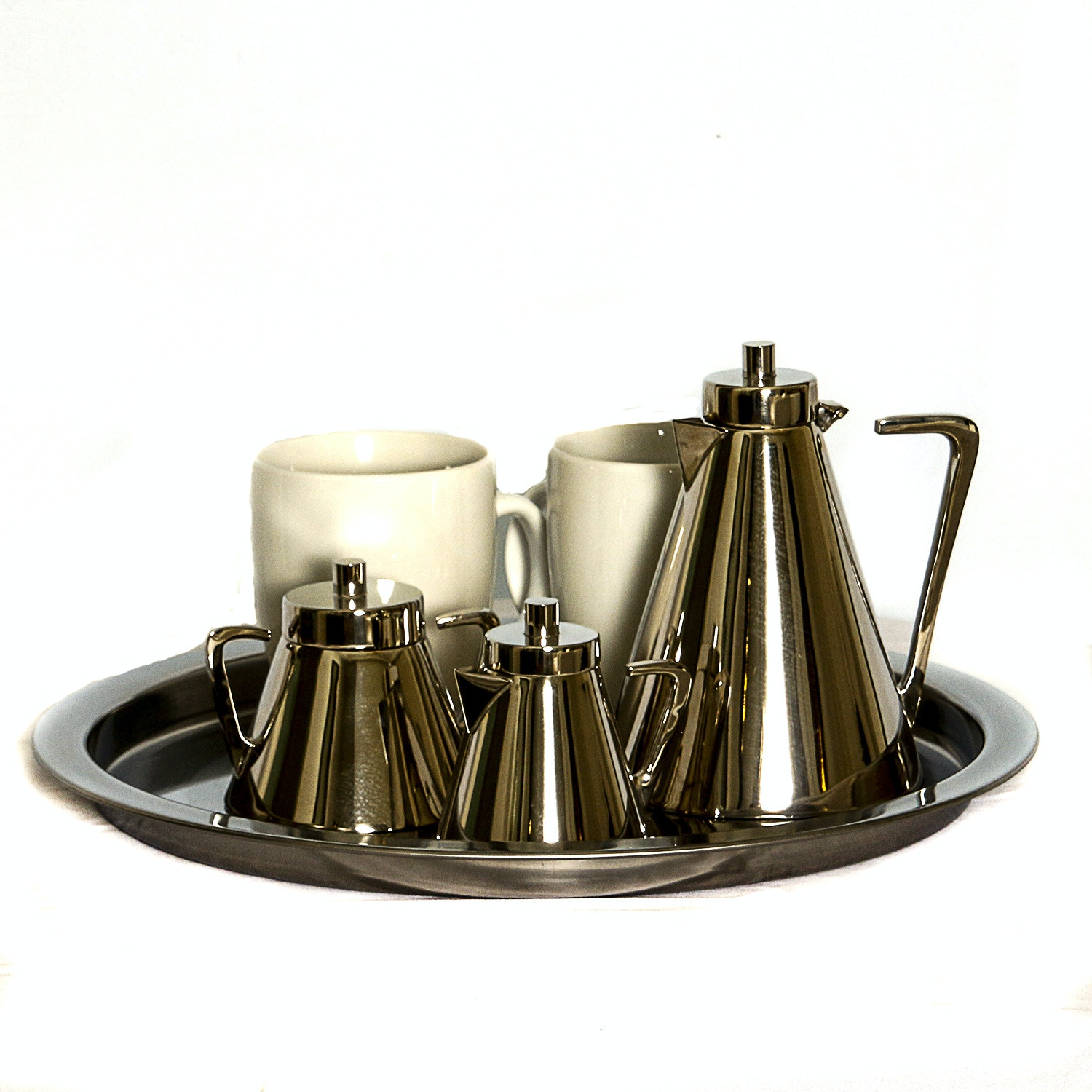 Silver-Toned Metal Tea Service Set with Ceramic Coffee Mugs