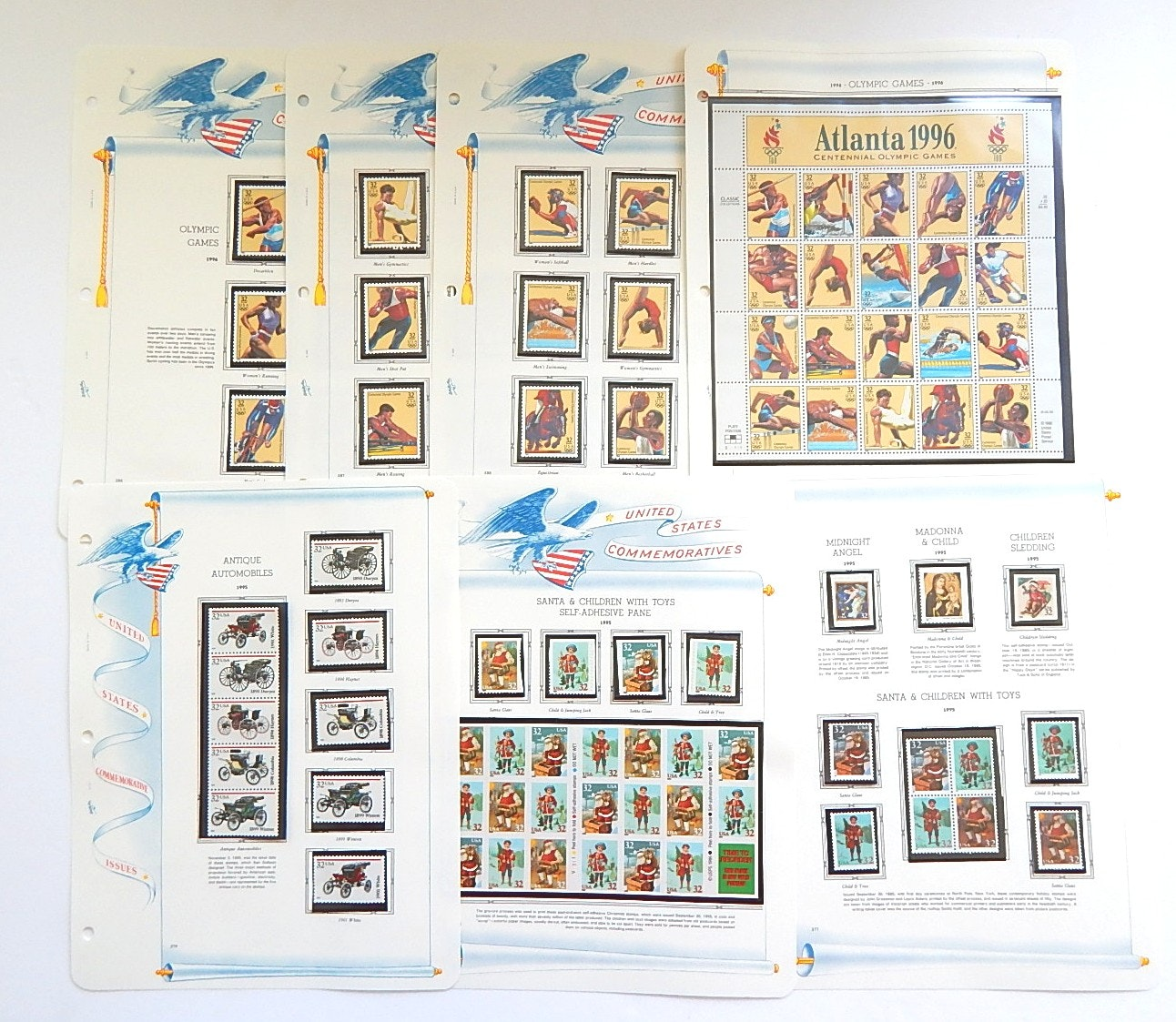 United States Commemorative Stamps with Olympics, Antique Automobiles, Xmas