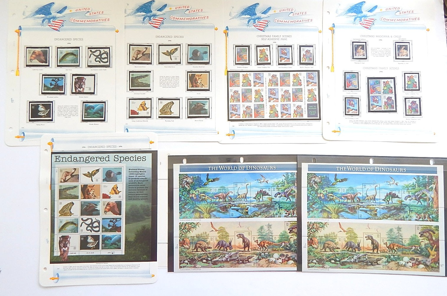 United States Commemorative Stamps with Dinosaurs, Endangered Species, Christmas
