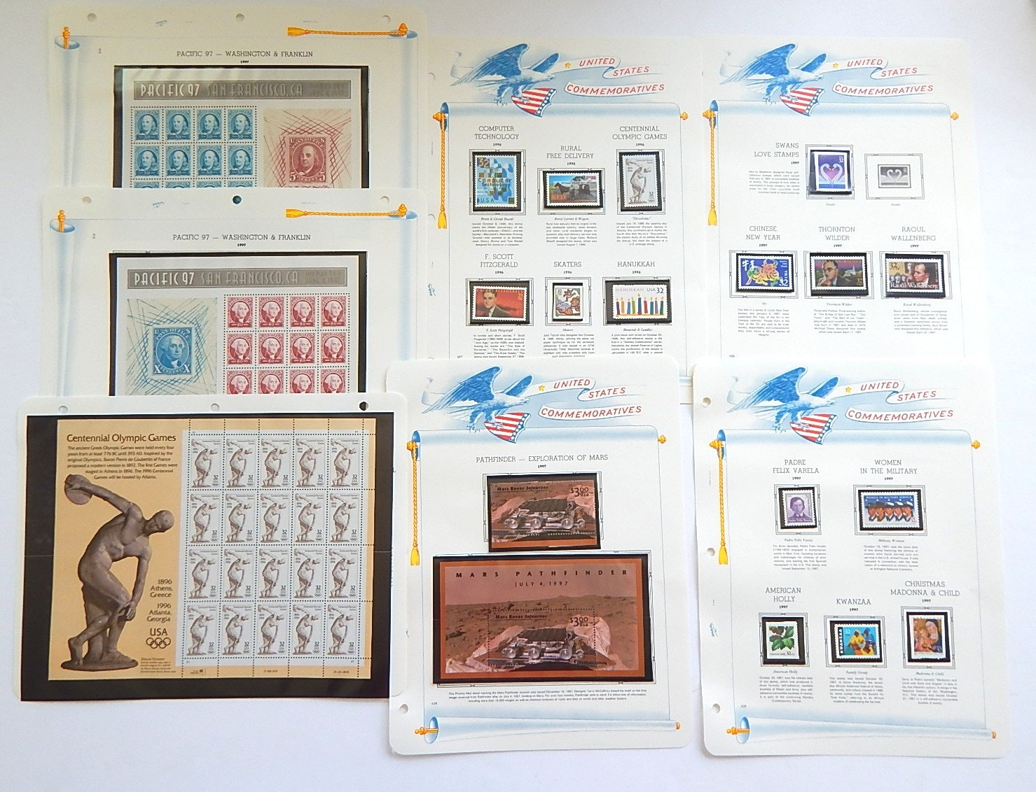 United States Commemorative Stamps with Olympics, Mars, Pacific 97, Assorted