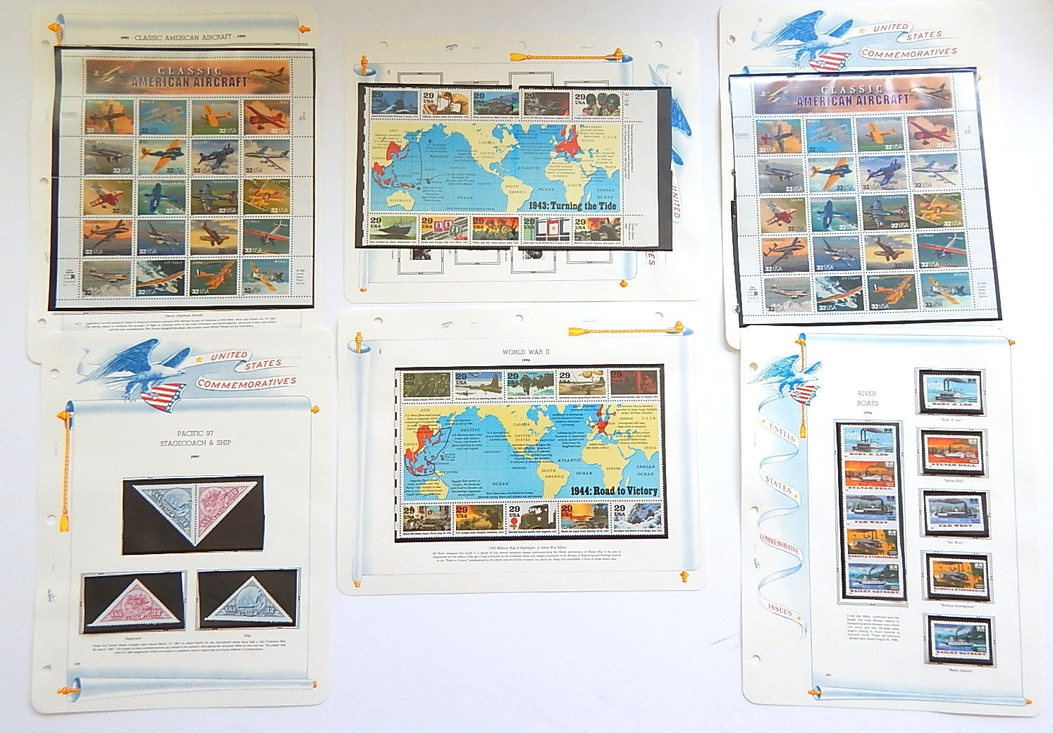 United States Commemorative Stamps with Aircrafts, River Boats, WWII, Ships