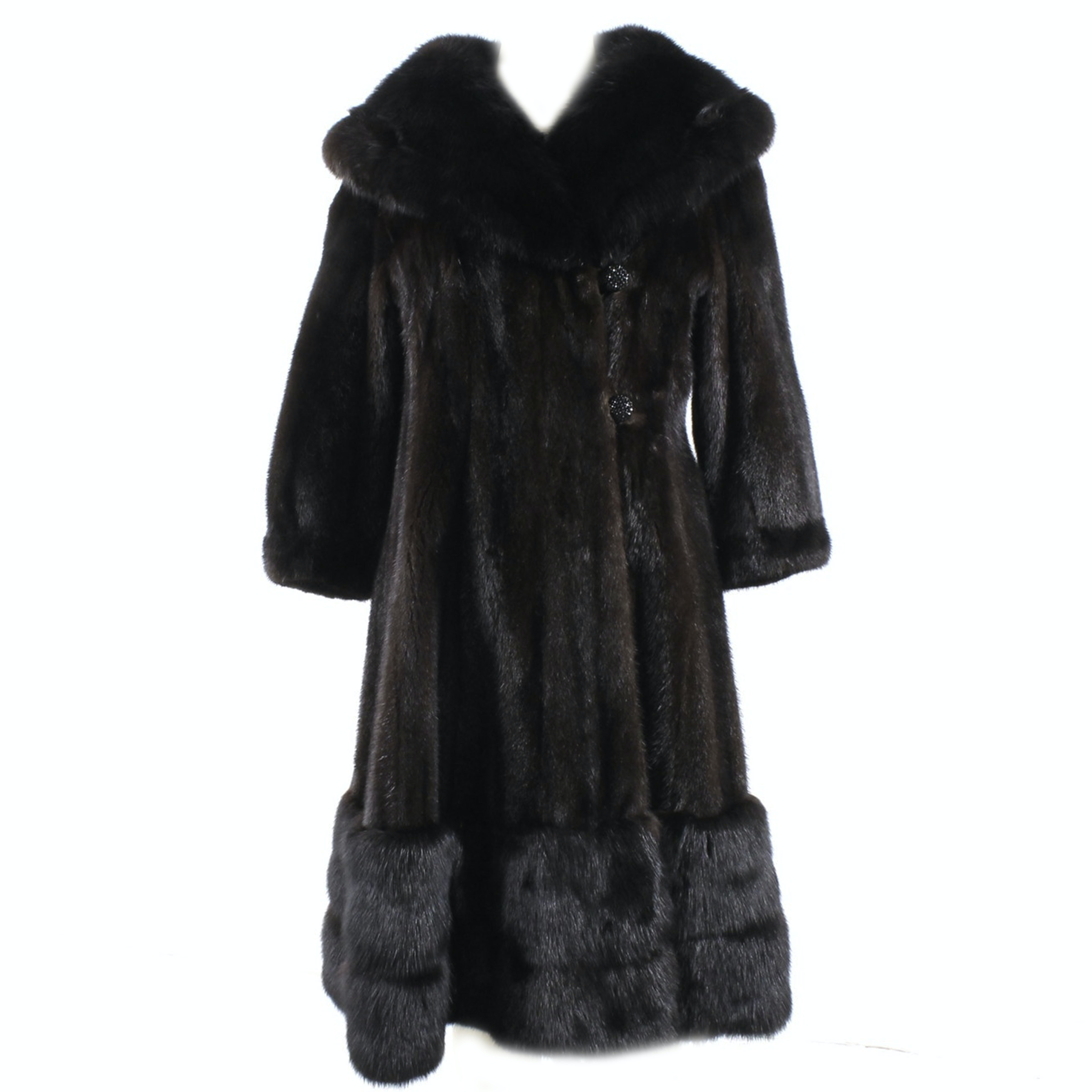 Sable Trimmed Mahogany Mink Fur Coat