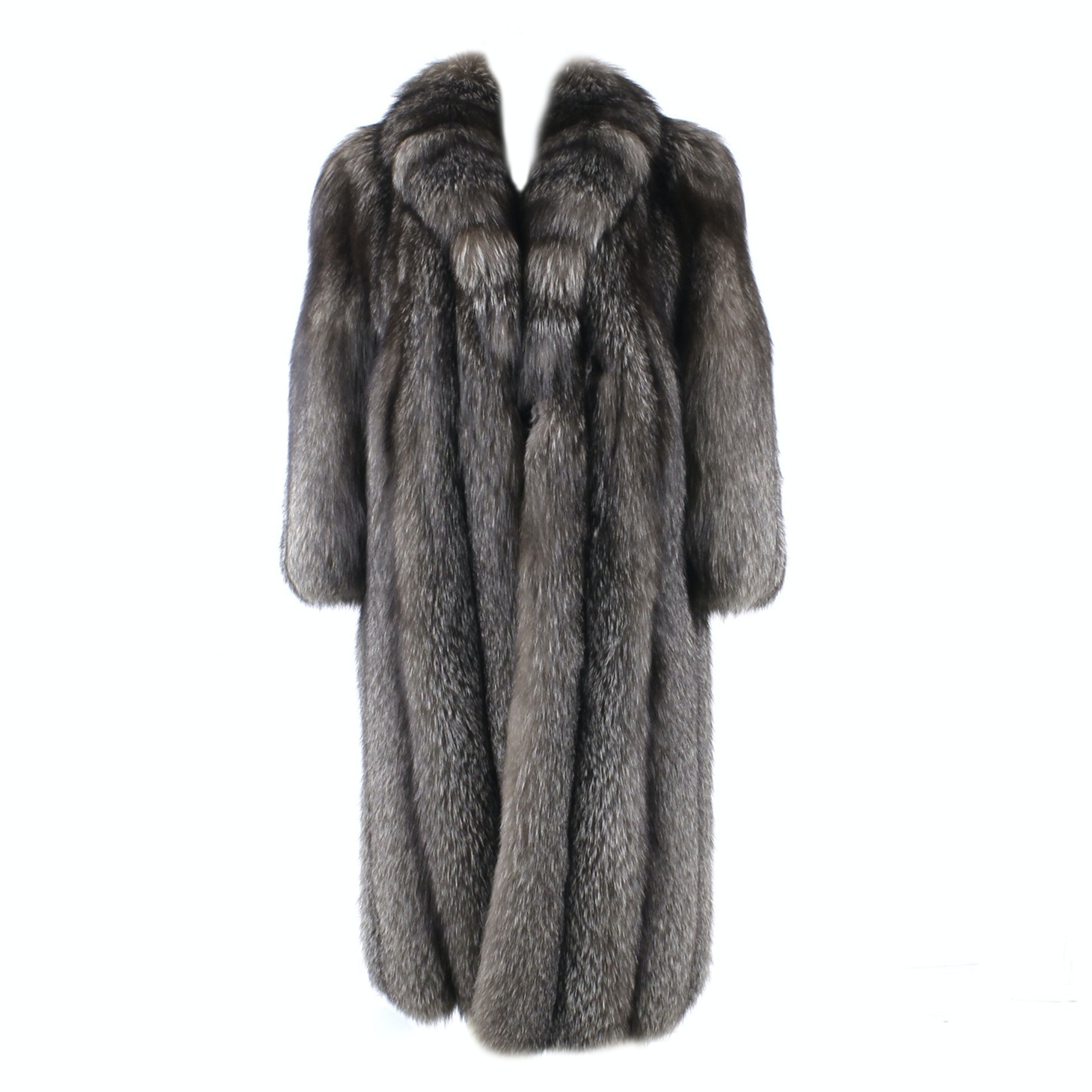 Full Skin Platinum Fox Fur Full Length Coat