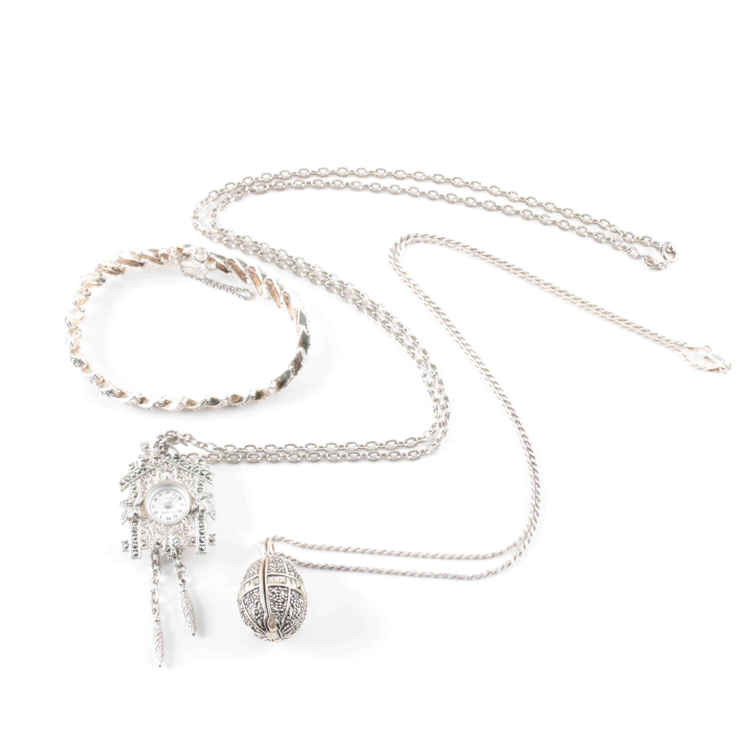 Sterling Silver and Silver-Tone Jewelry Selection With a Cuckoo Clock Necklace