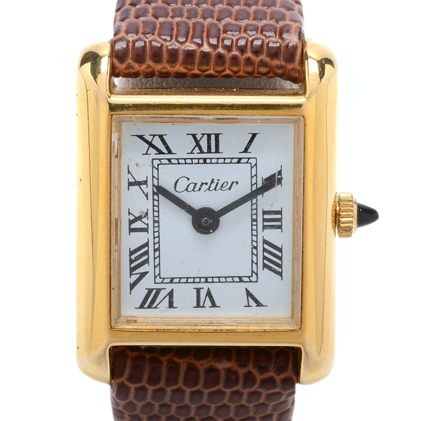 Cartier Gold Plated Tank Style Wristwatch