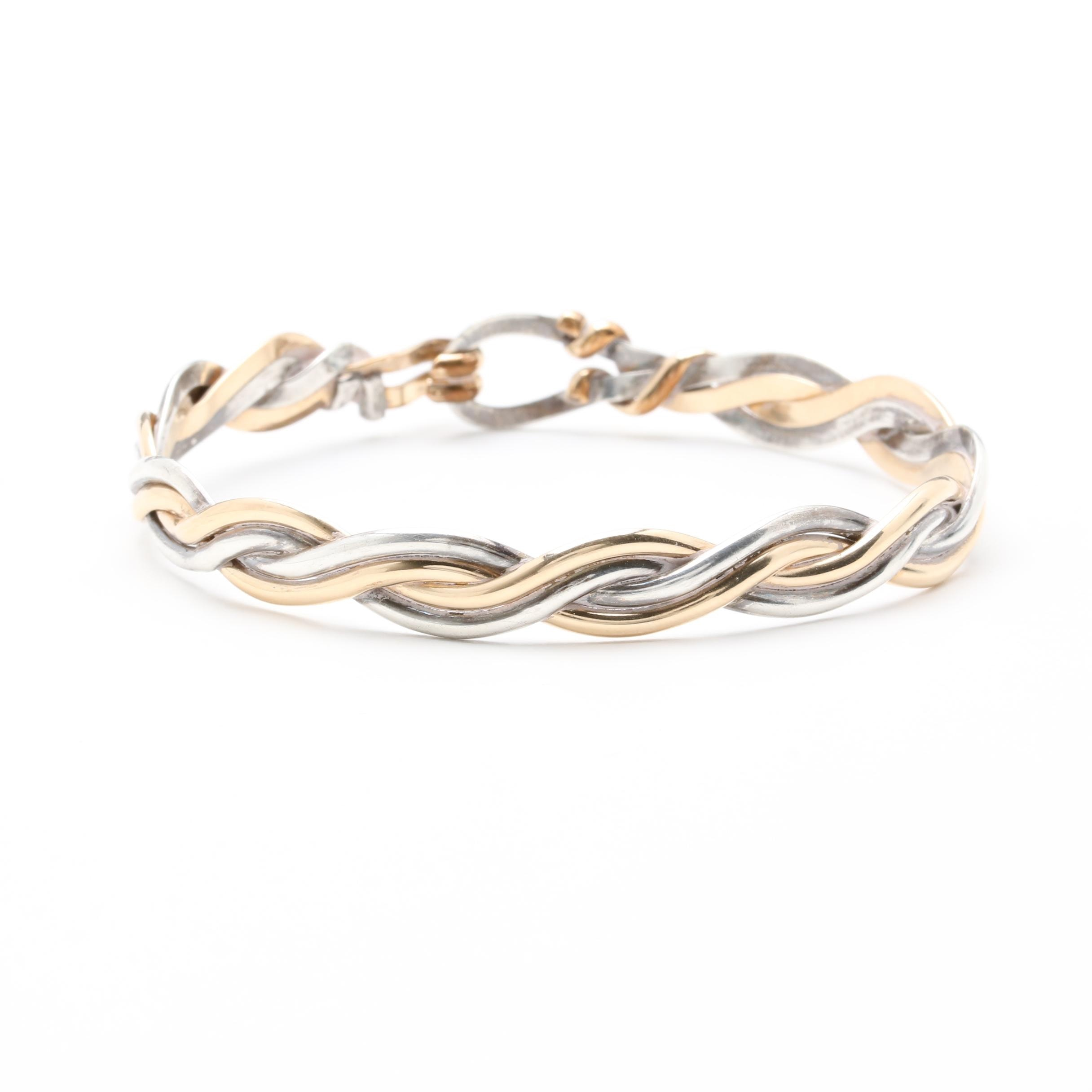 Sterling Silver and 14K Yellow Gold Braided Bangle