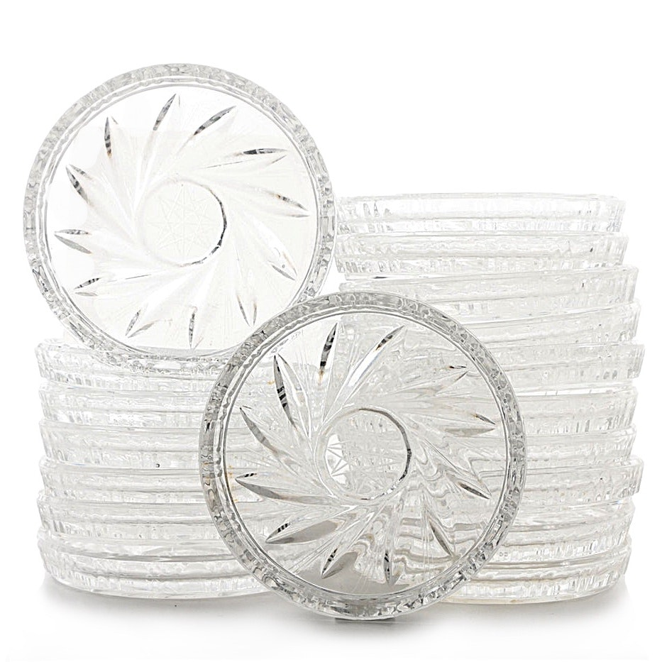 Set of Pressed and Cut Crystal Coasters